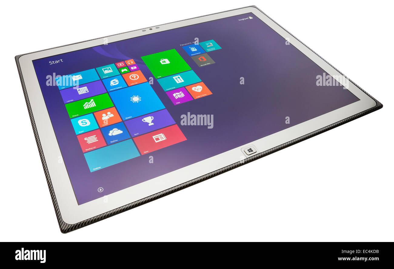 Panasonic ToughPad tablet PC with 4K resolution screen. - Stock Image