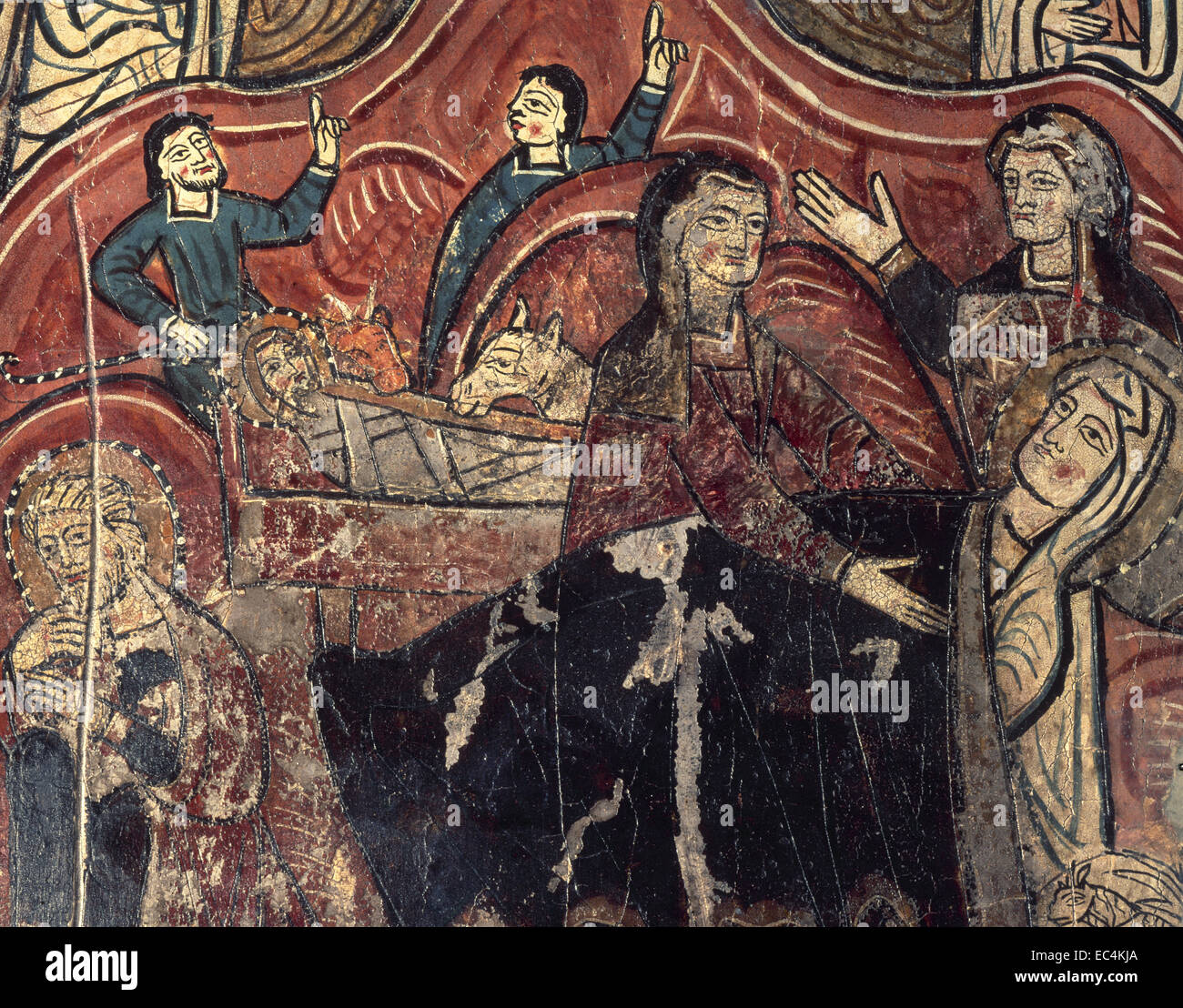 Romanesque. Spain. Aragon. Nativity. Altar frontal of St. Mary's church. Iguacel. Tempera on wood. 12th century. - Stock Image