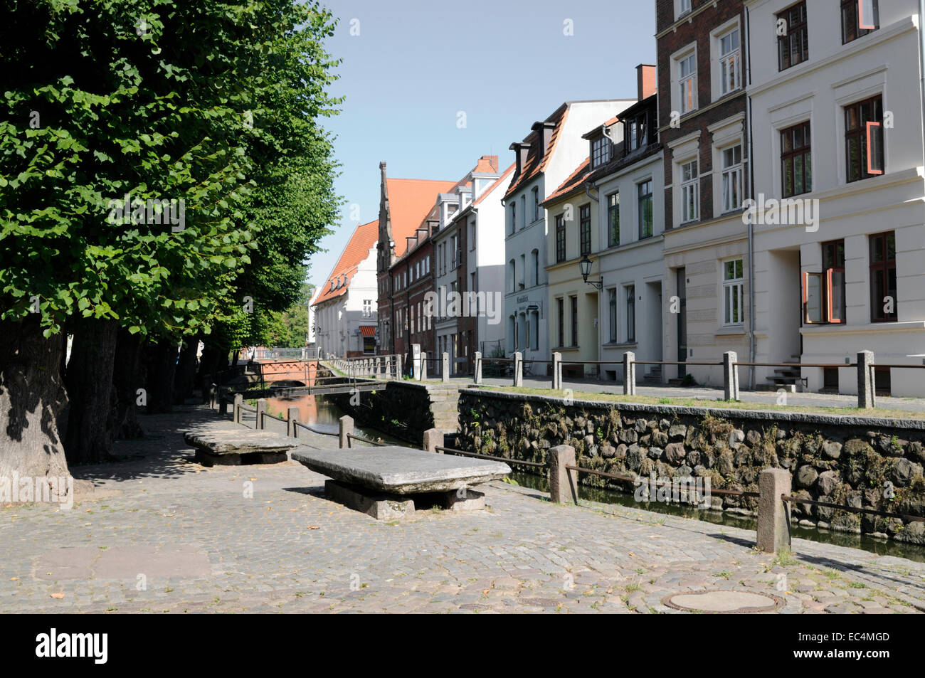Street named Frische Grube in Wismar, Germany - Stock Image