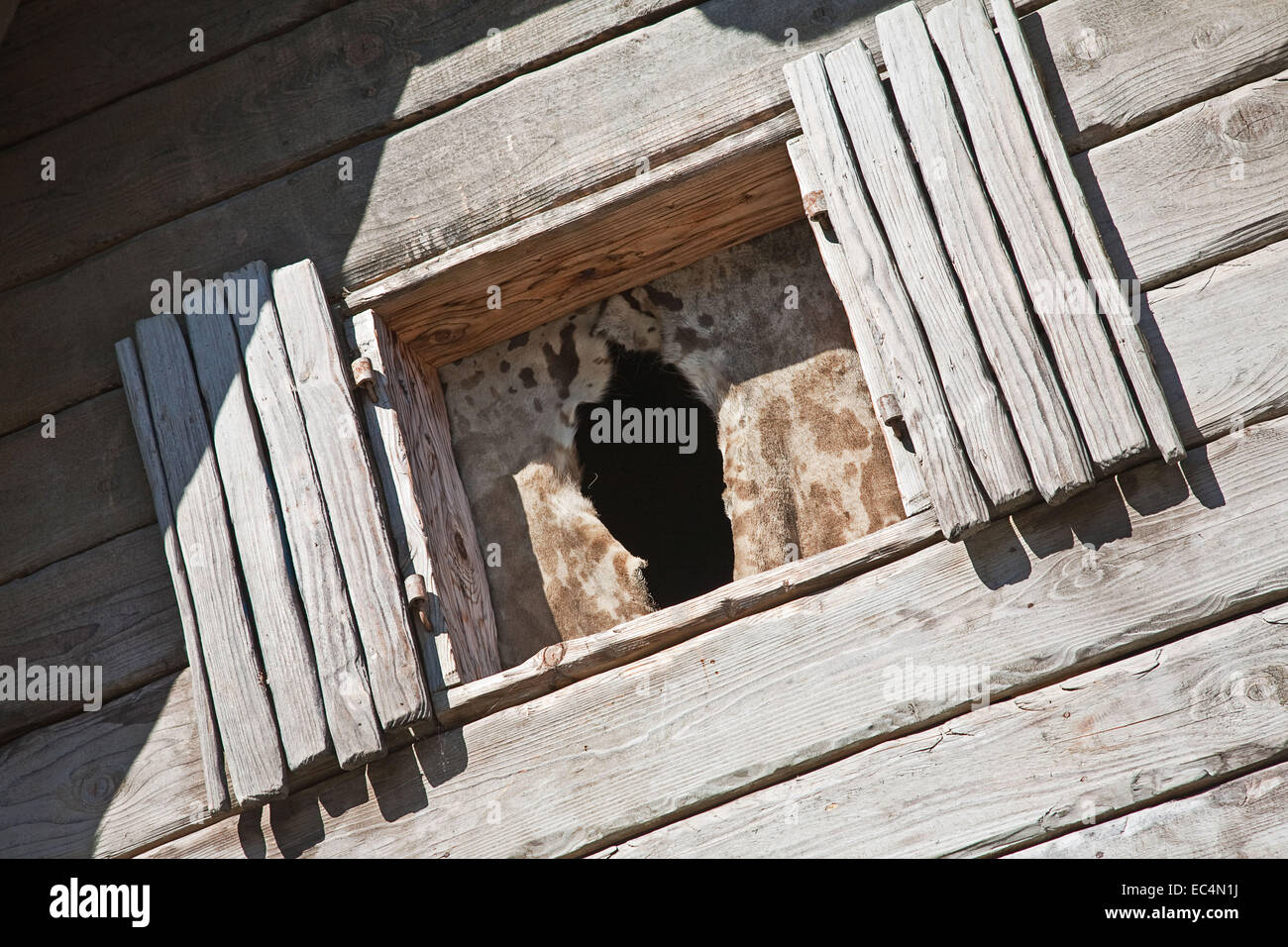 Primitive old wood windows at home - Stock Image