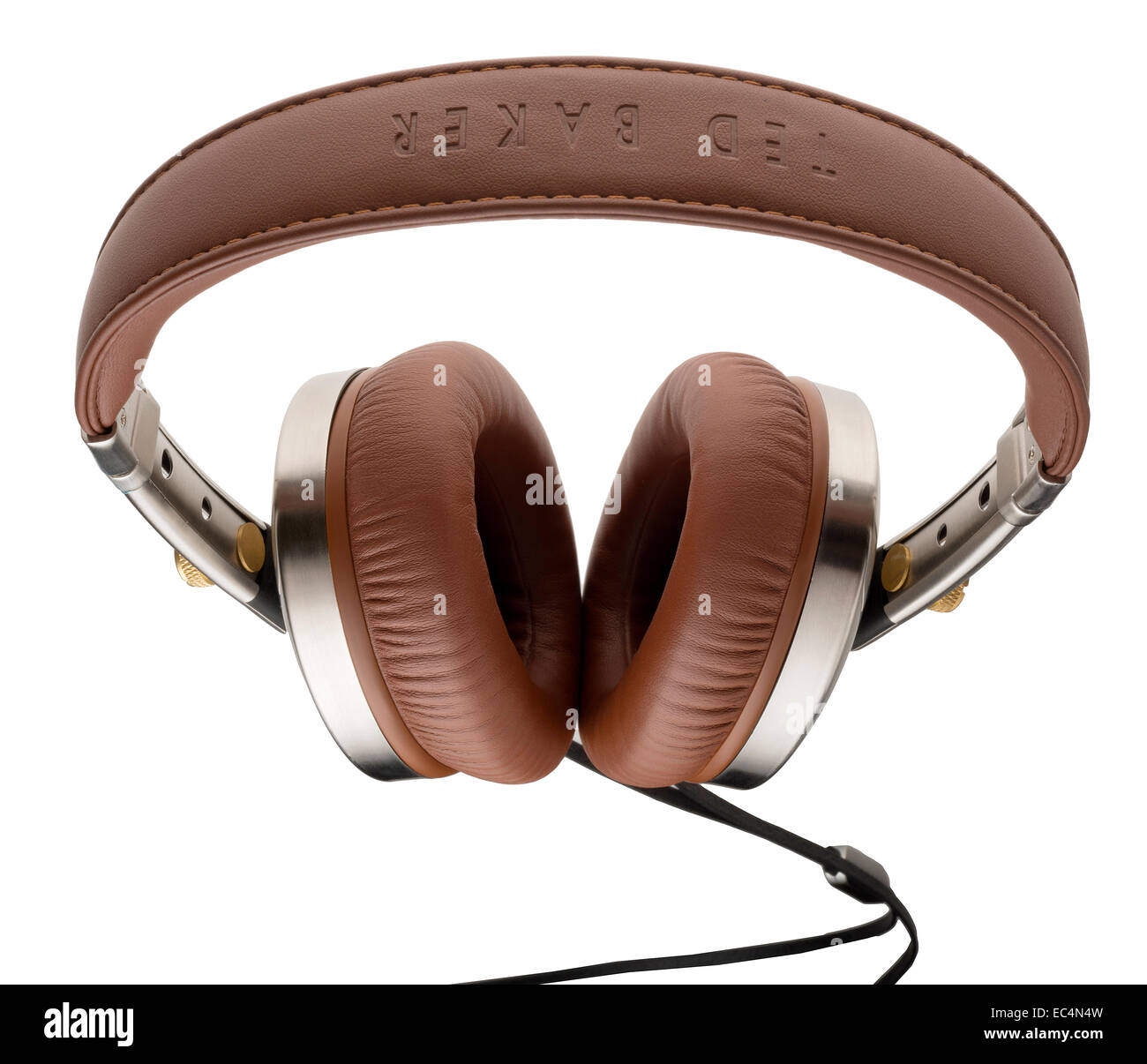 Ted Baker branded brown leather headphones. Over-ear headphones called Rockall. - Stock Image