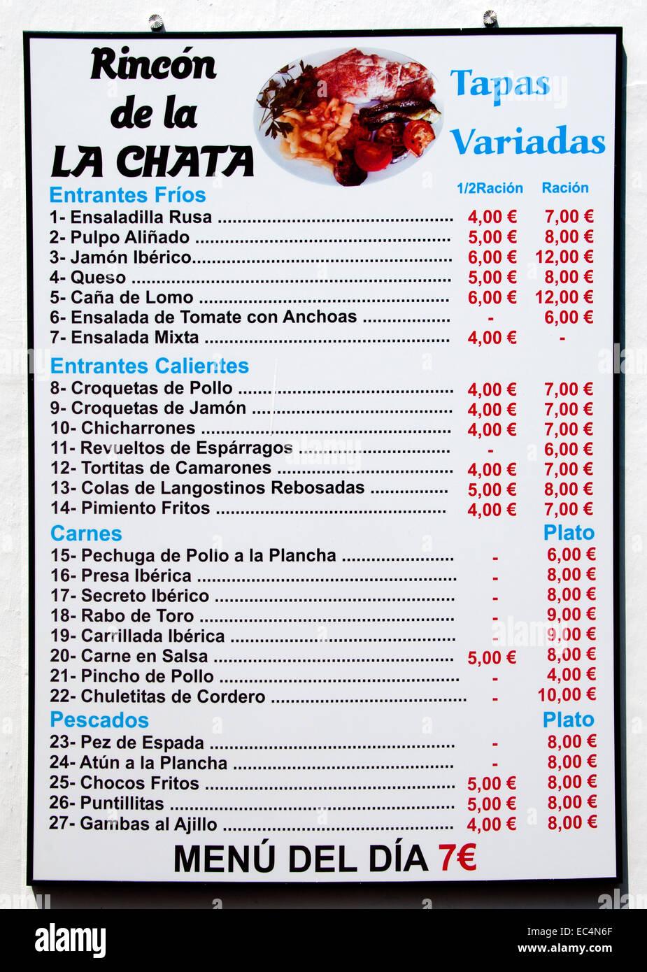 menu tapas bar pub restaurant arcos de frontera spain spanish cadiz