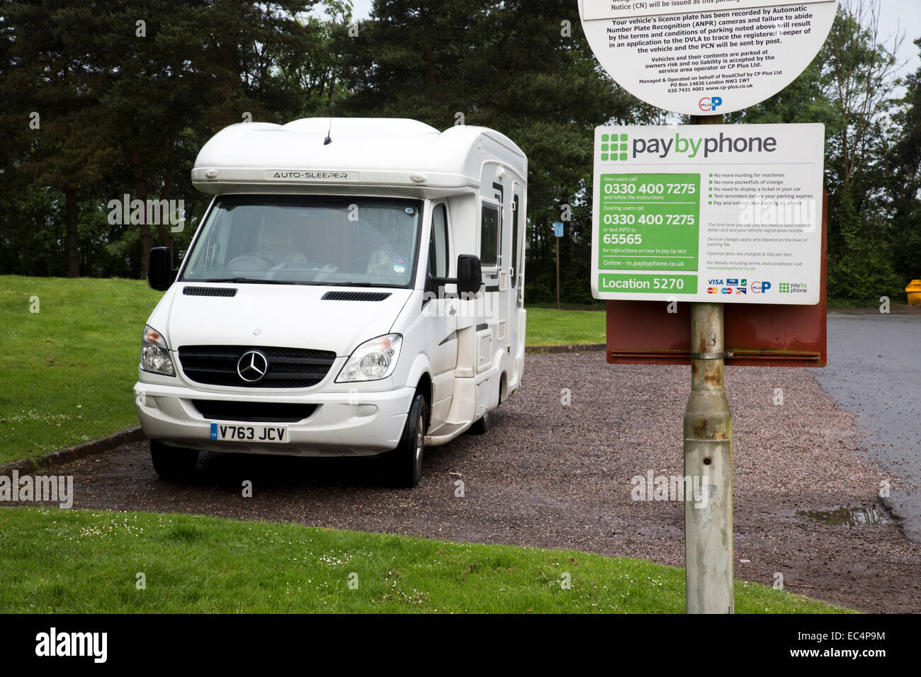 Taunton Deane Services; M5; Van Parked; UK - Stock Image