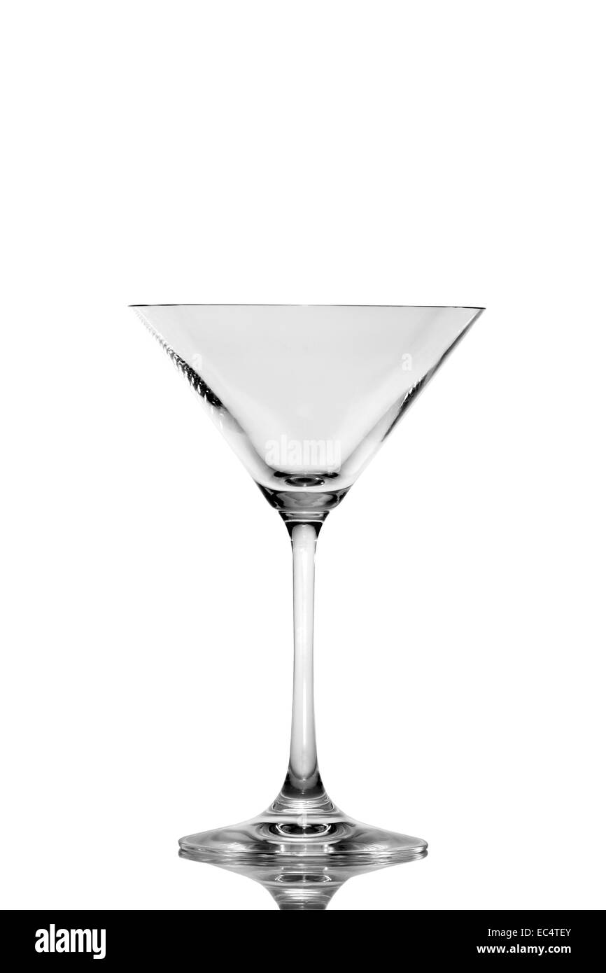 Empty Martini glass isolated on white - Stock Image