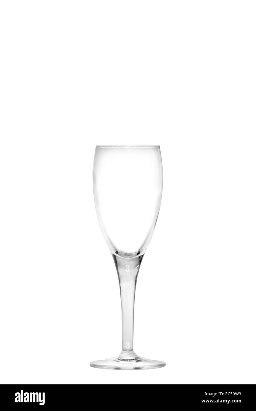 Isolated empty champagne flute - Stock Image