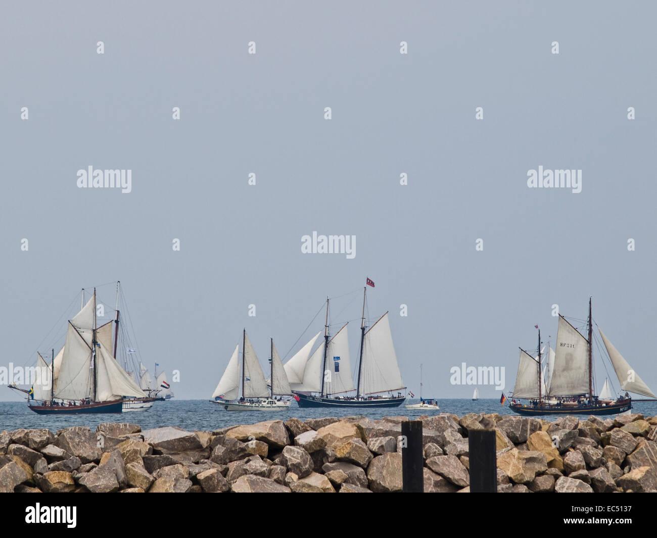 quot Haikutter quot Fishing Smack Regatta outside Warnemünde, Mecklenburg West Pomerania, Germany - Stock Image