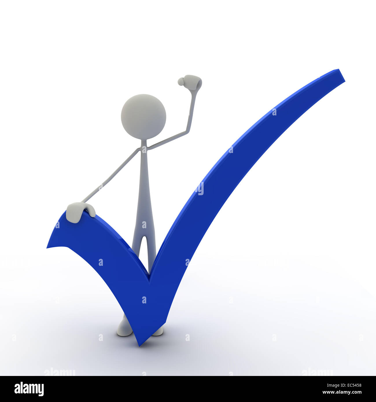 Figure with check mark and fist up Stock Photo