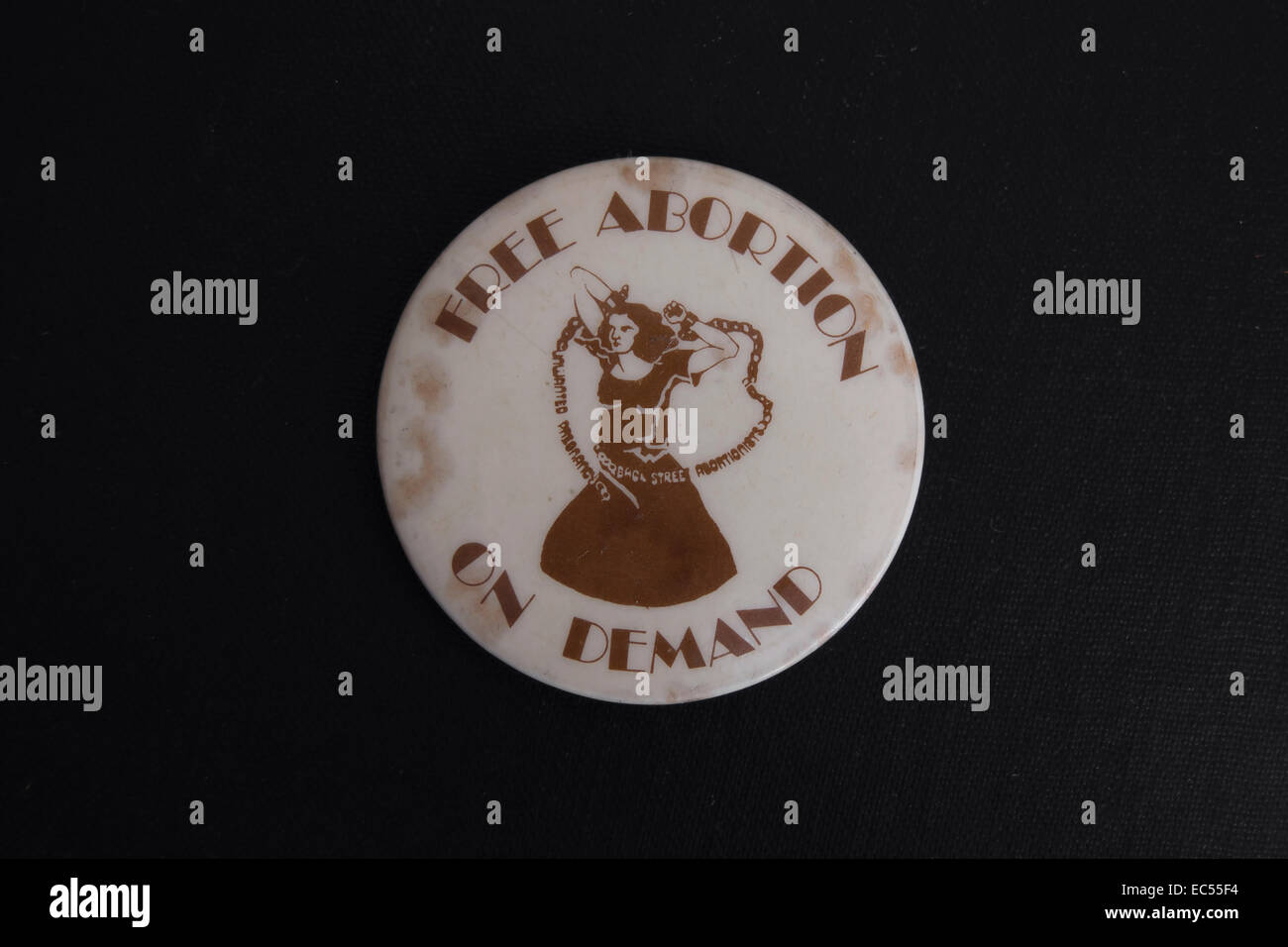 free abortion on demand lapel badge of the 1970s promoting the national abortion campaign in britain - Stock Image