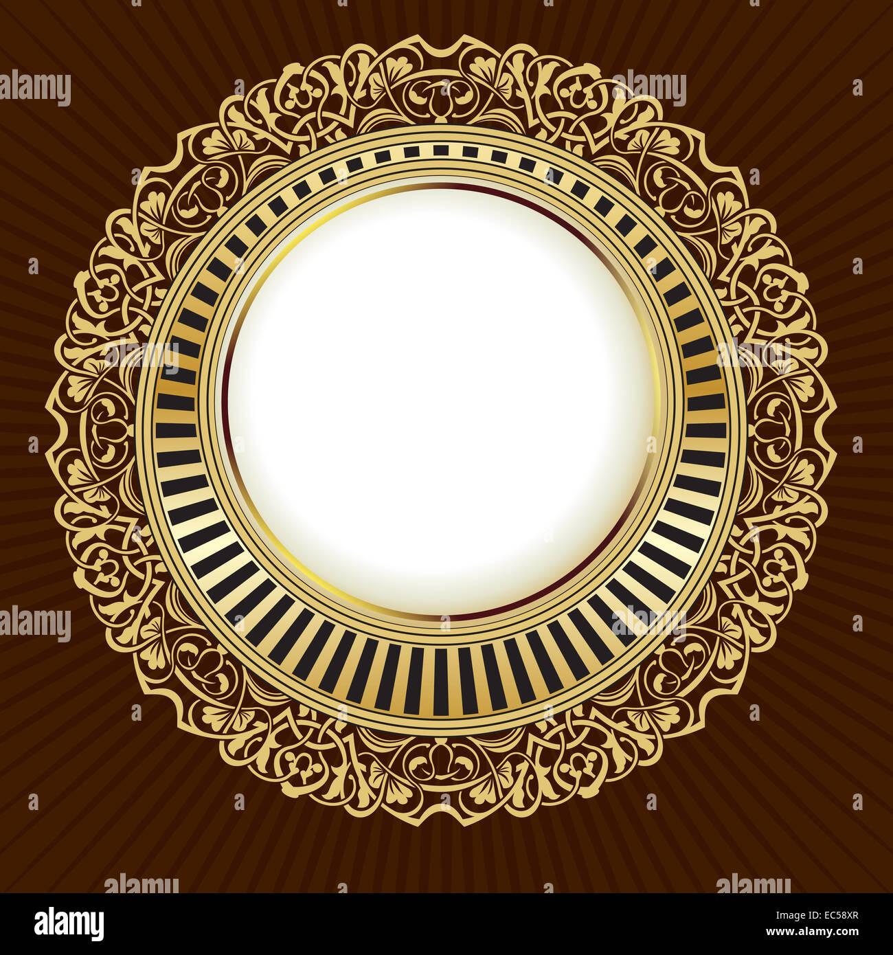 Gold vintage frame with floral ornamental border - Stock Image
