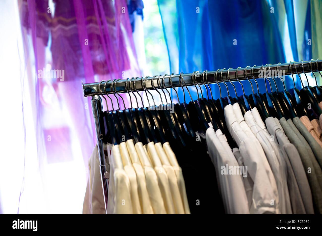 modern cloth shop interior Stock Photo