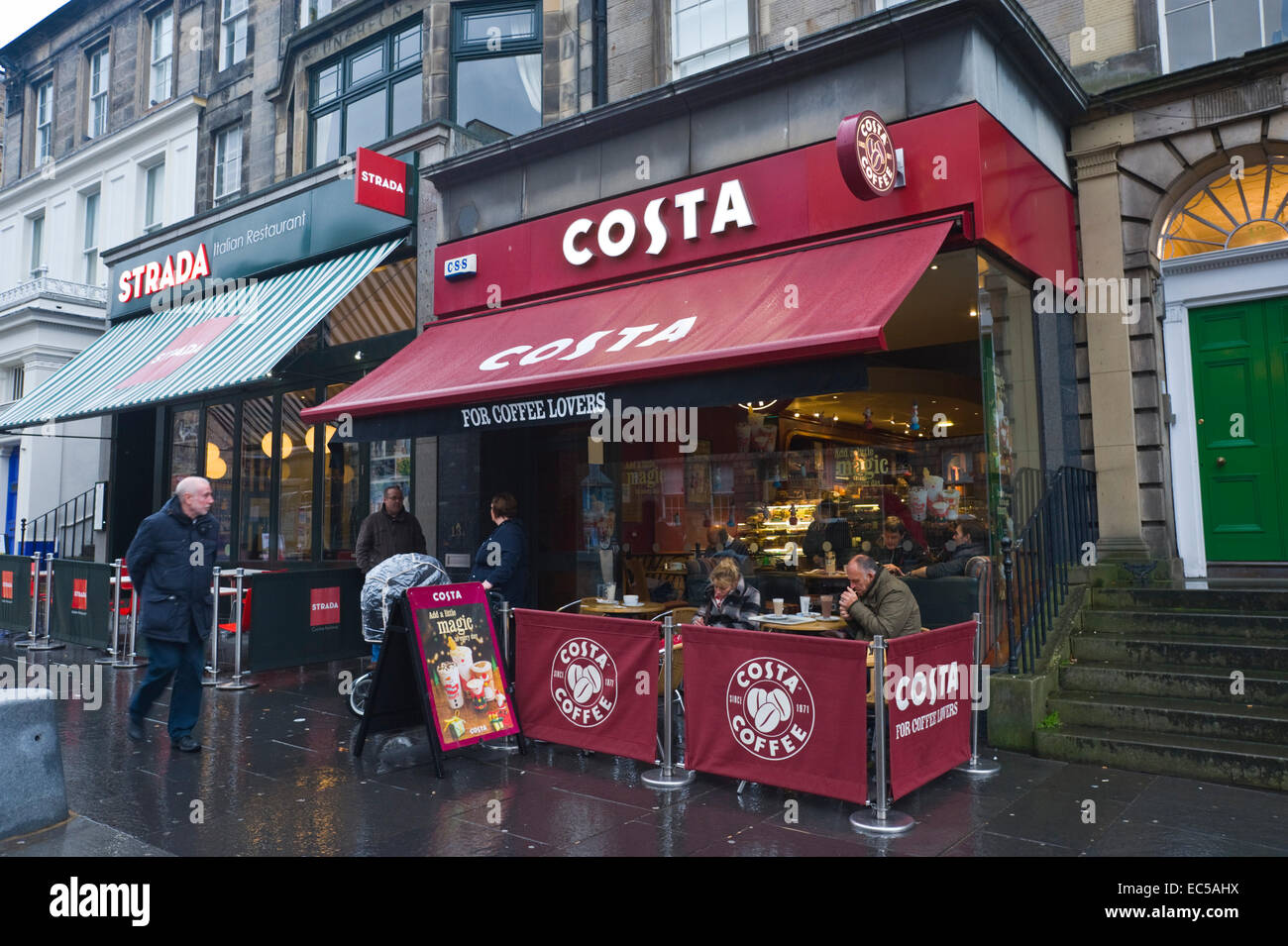 Costa Coffee Shop On Rainy Day In Edinburgh Scotland Uk