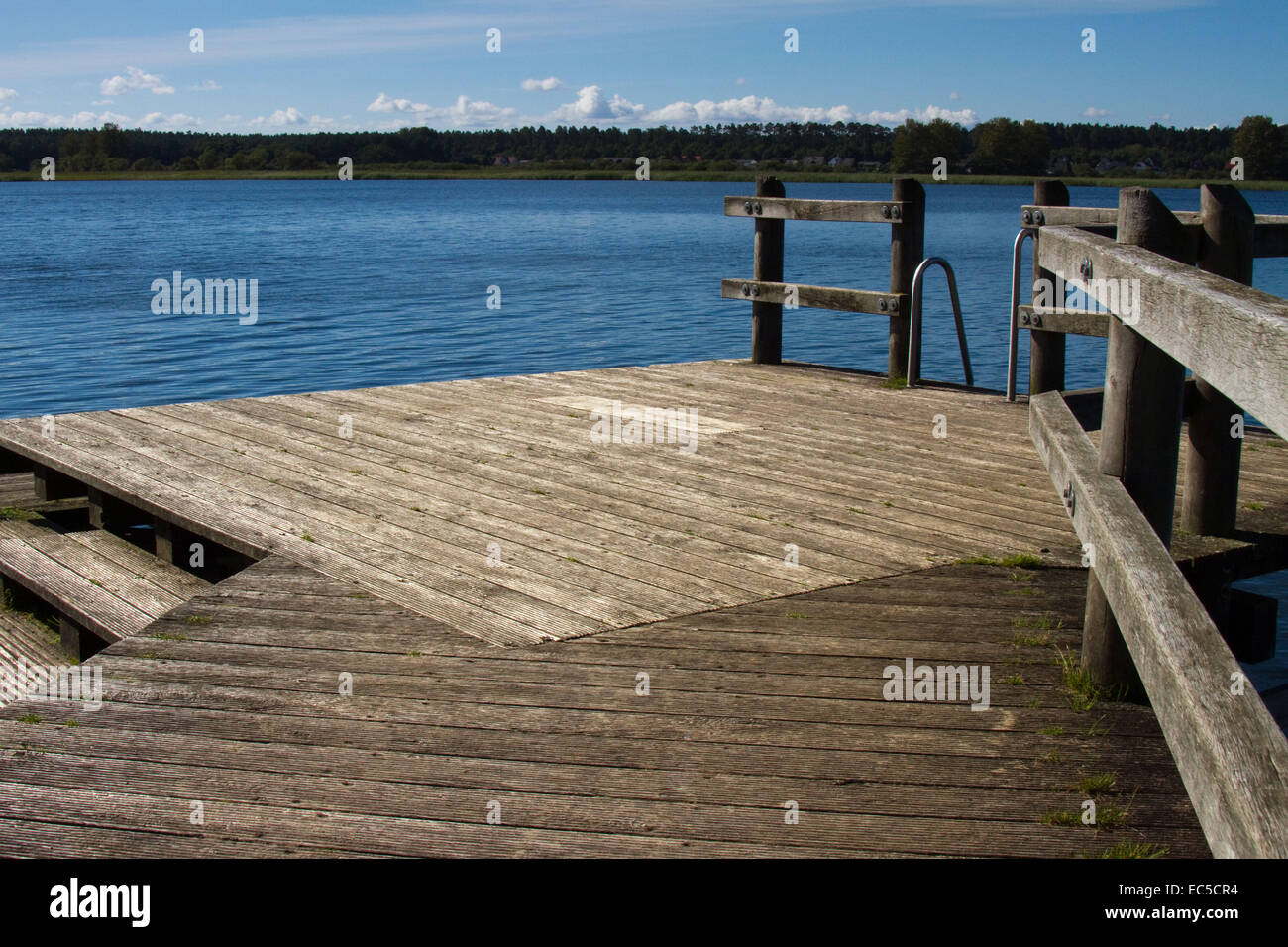 empty bathing planks at the sea - Stock Image