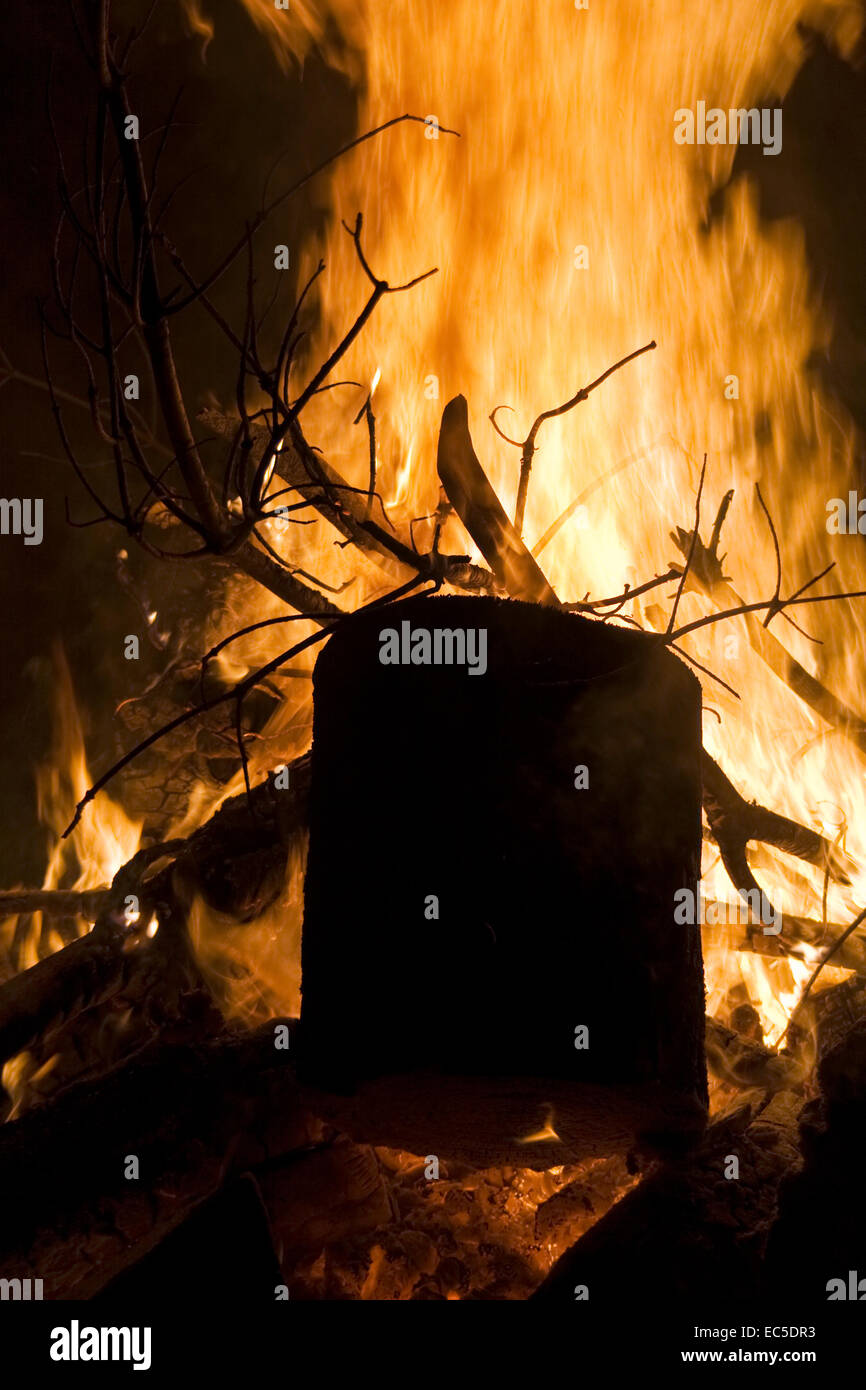 block of wood in a campfire Stock Photo