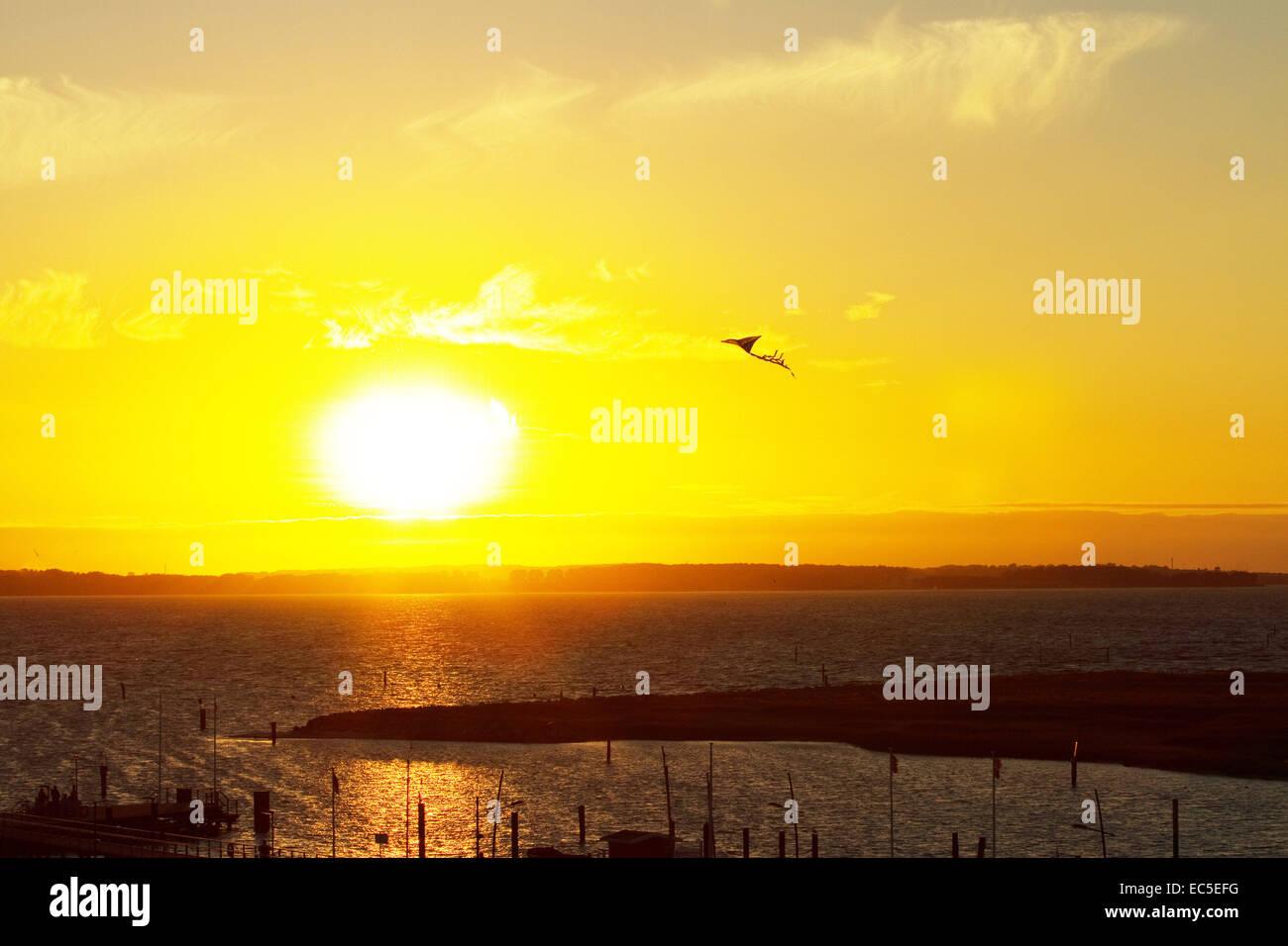 sunset with kite Stock Photo