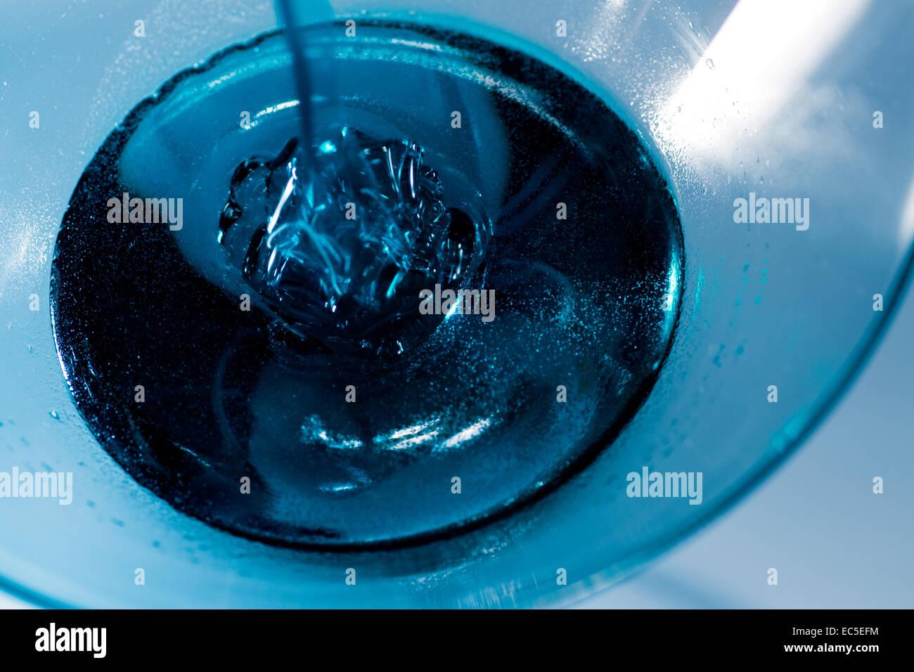 blue liquid in a glass Stock Photo