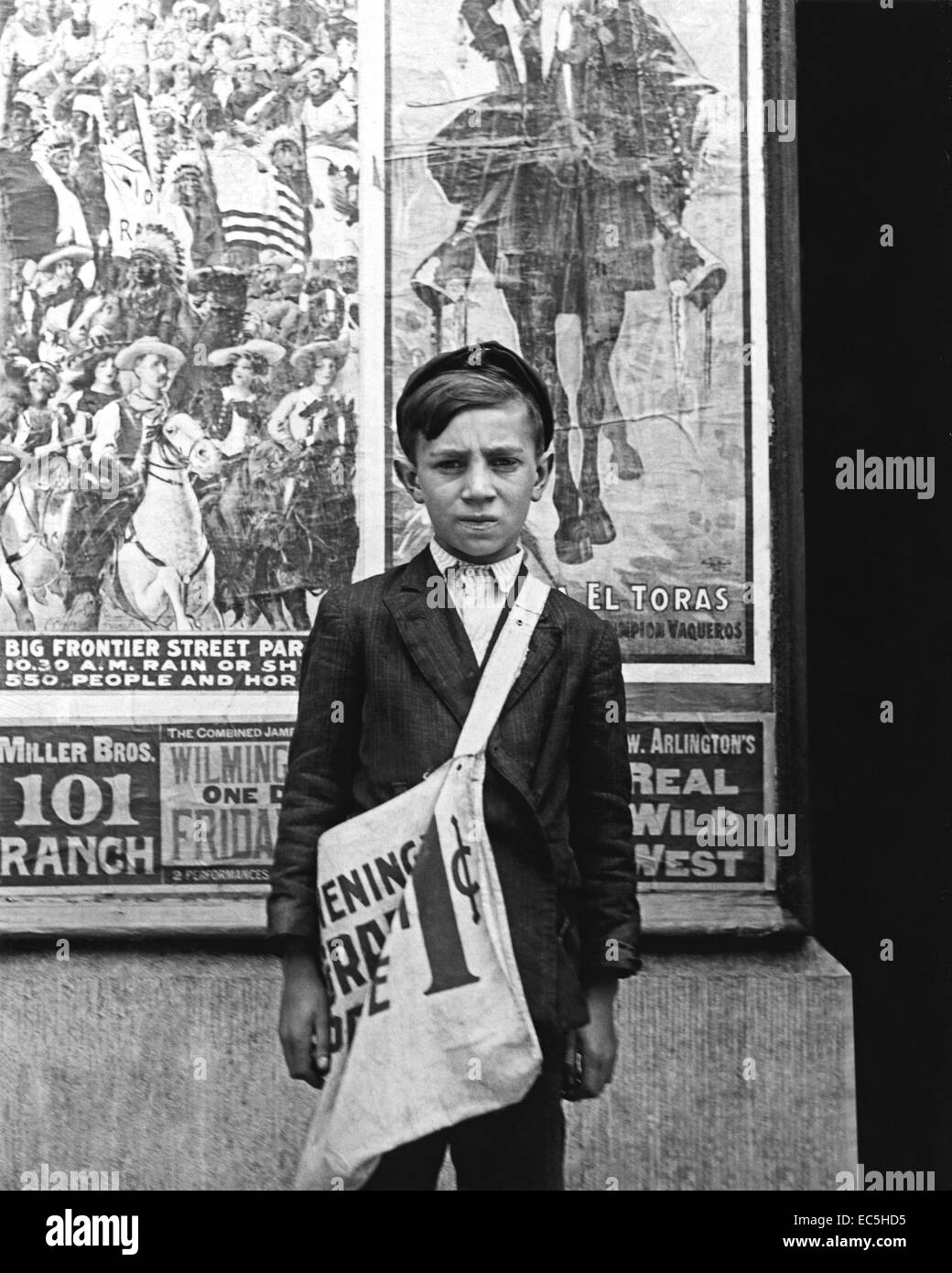 Twelve year old S. Russell is a newsboy in Wilmington,Delaware and has been selling newspapers for two years. His - Stock Image