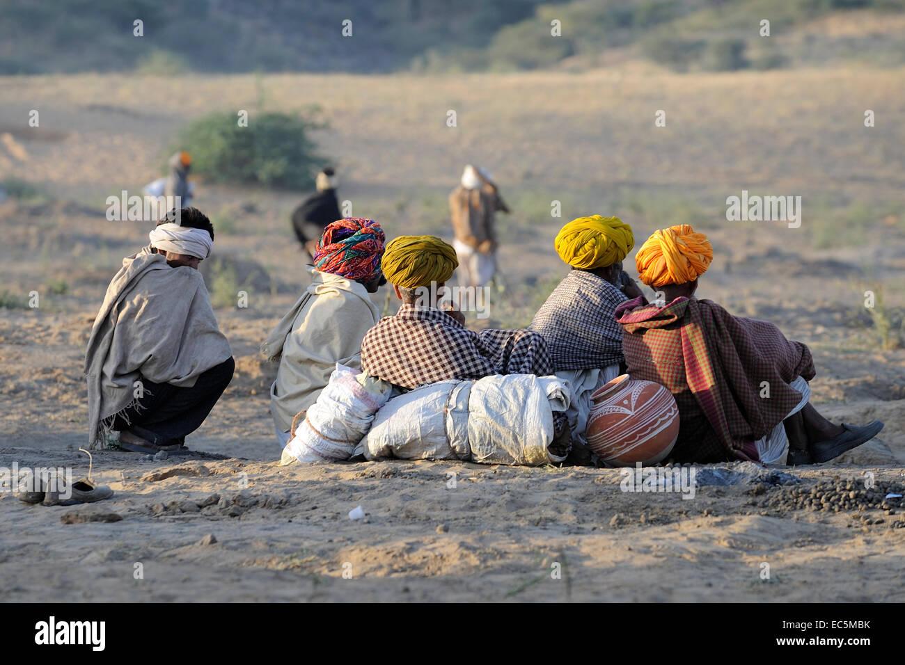 Shepherds take relax in the desert Stock Photo