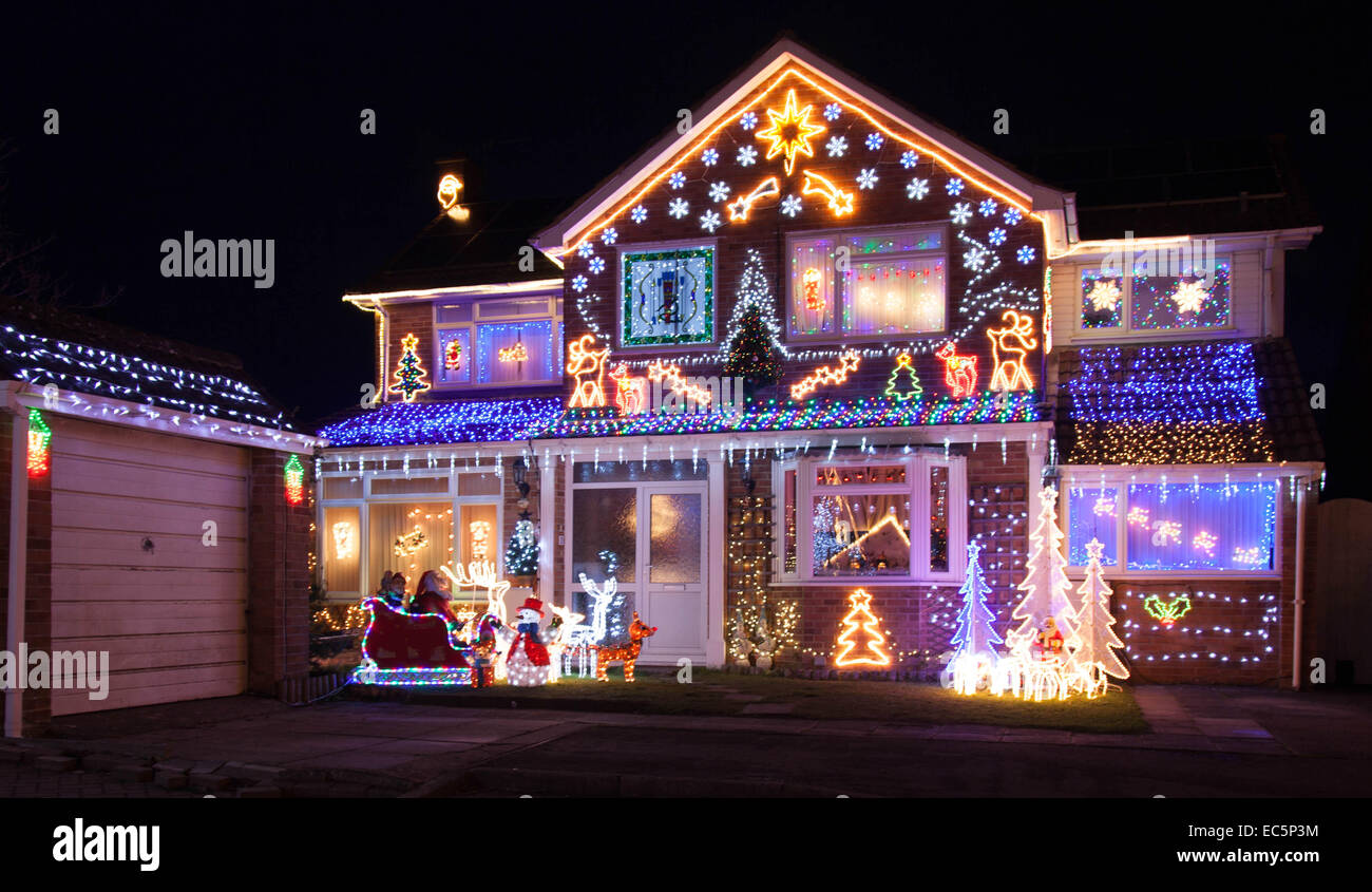 House With Christmas Lights.House With Christmas Lights Stock Photo 76344456 Alamy