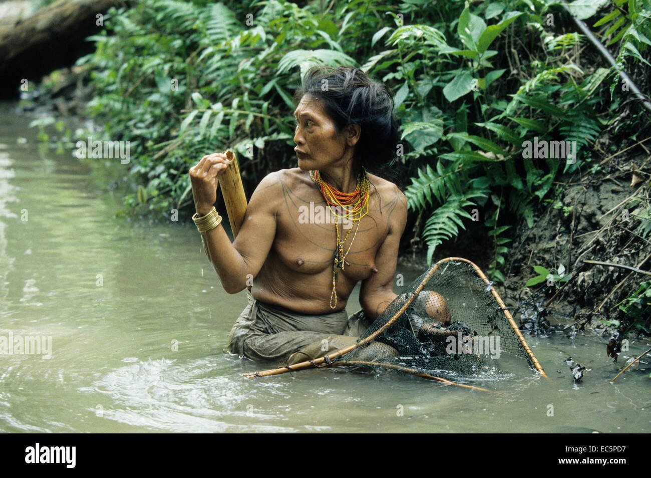 Mentawai woman while fishing, Mentawai Islands, Indonesia - Stock Image