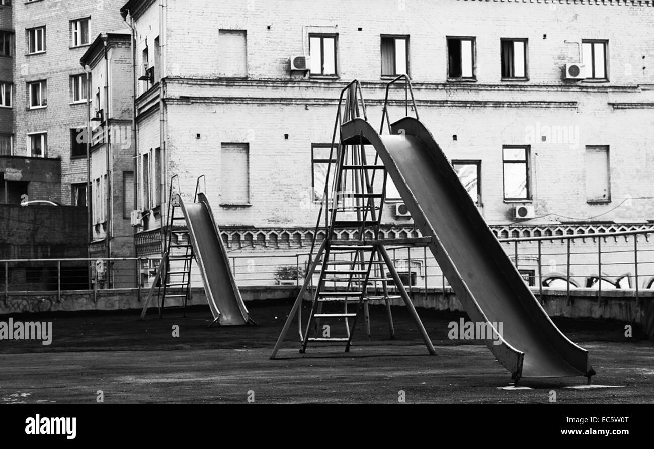 Playgrounds, Slide in kiew, Ukraine, Europe - Stock Image