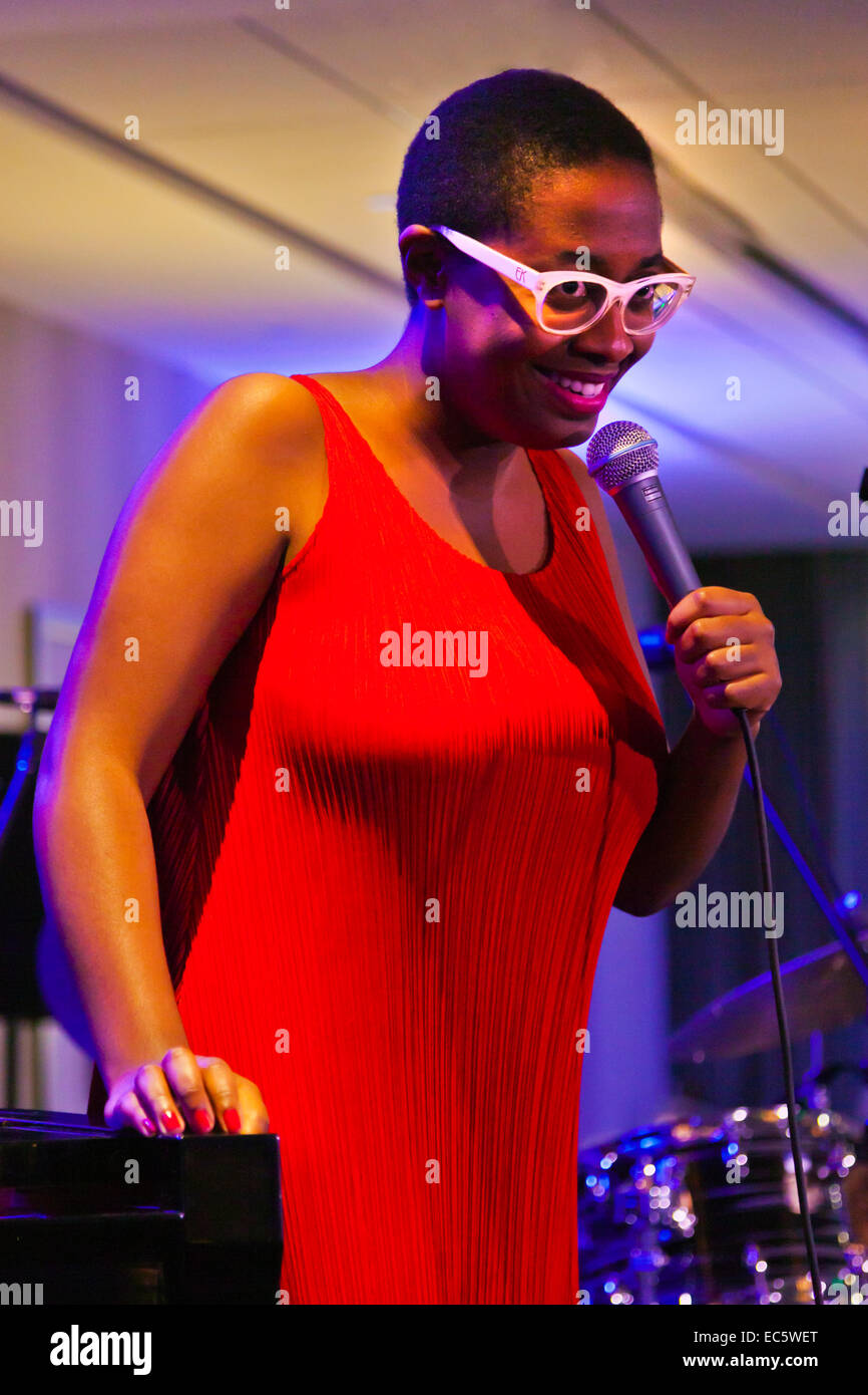 CECILE MCLORIN SALVANT sings at the 57 ANNUAL MONTEREY JAZZ FESTIVAL GALA Stock Photo
