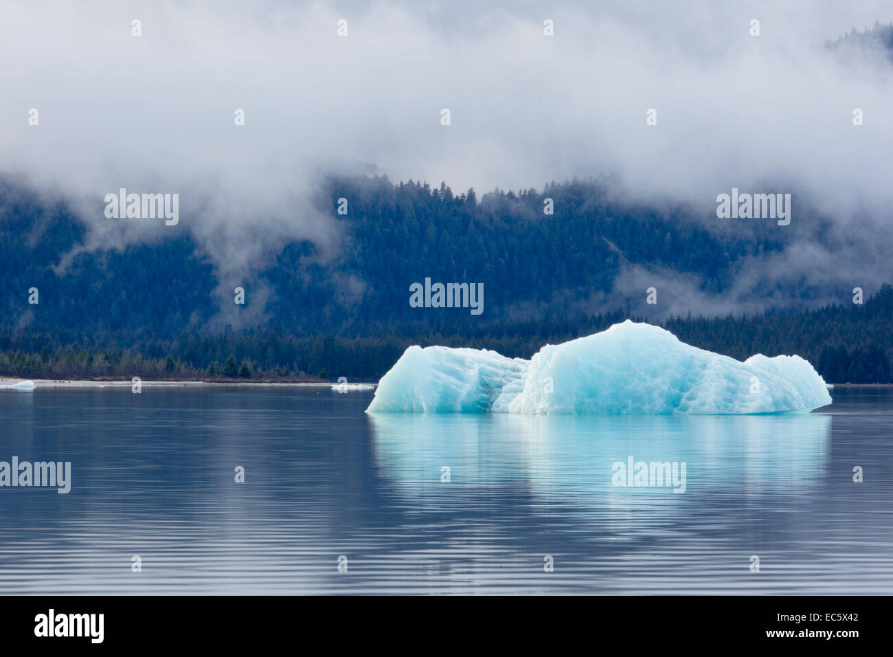 Diminishing glacier melts in waters created by climate change's effects on Mendenhall Glacier, in Juneau, Alaska. - Stock Image