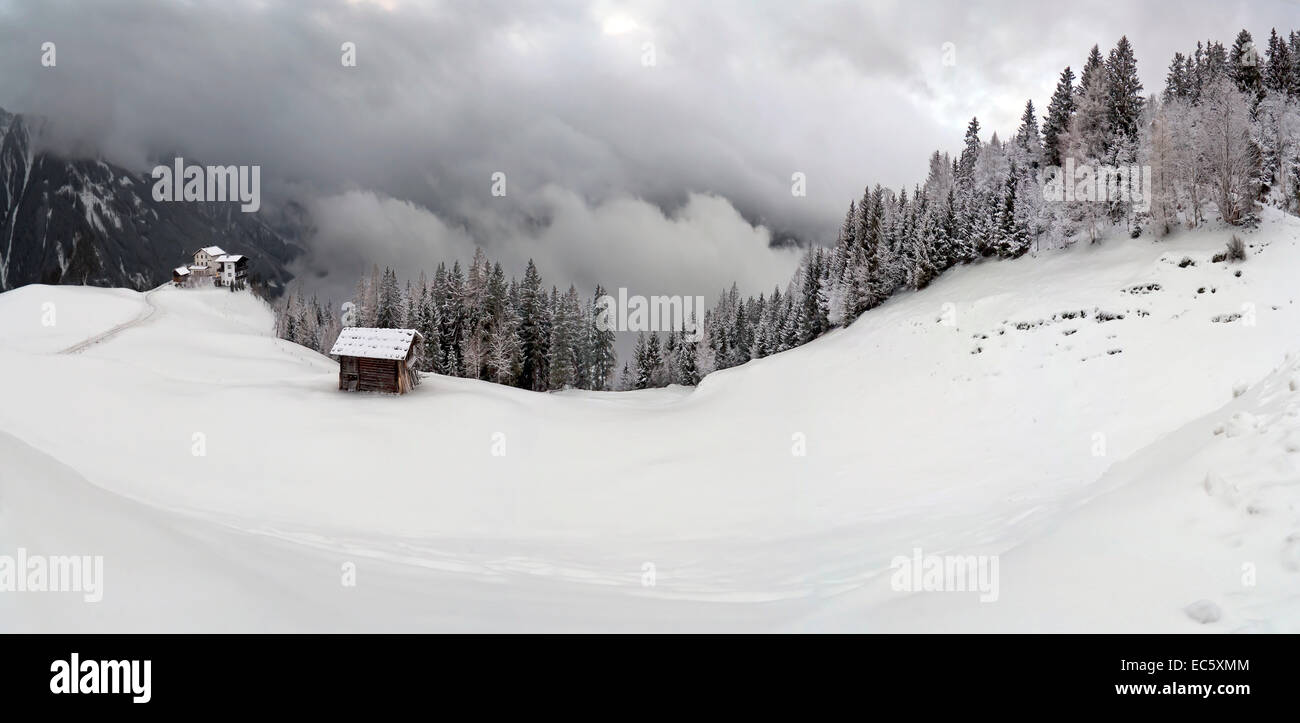 Fog and dawn over Zillertal - Stock Image