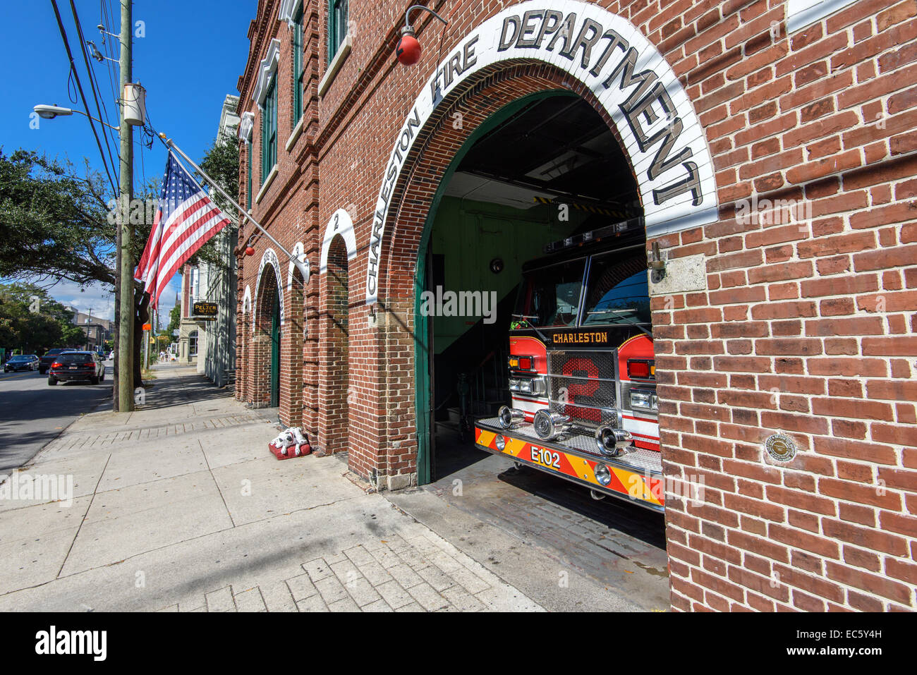Vintage Fire Station at Meeting Street in Charleston, SC - Stock Image