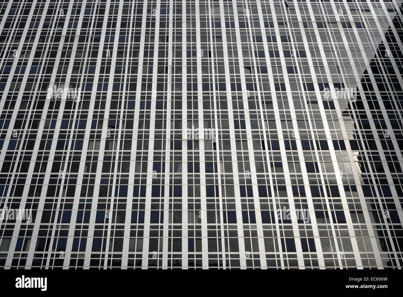 Grid of metal window frames on a 60s/70s glass curtain wall office ...