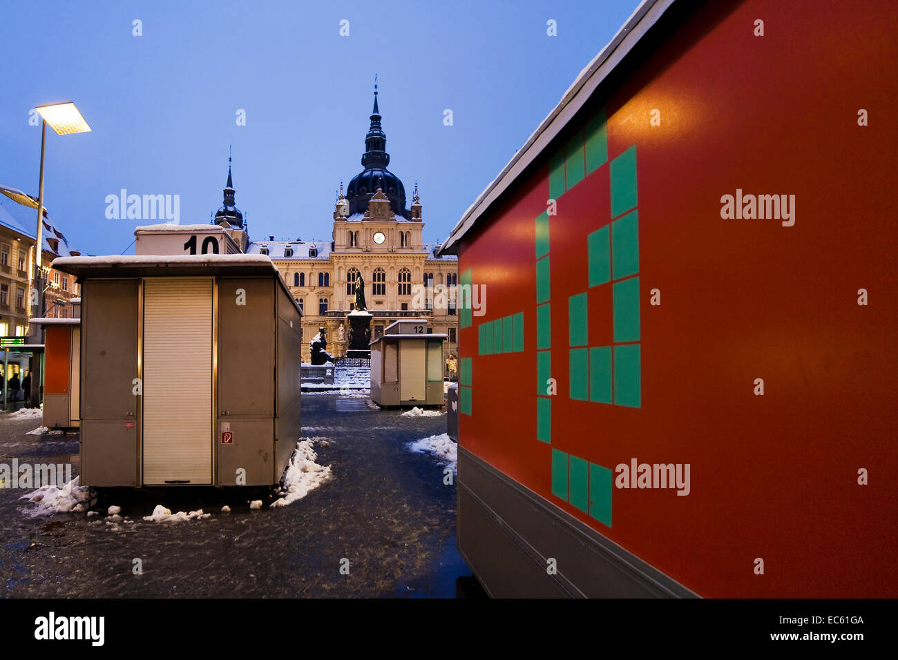 / square in Graz at christmastime, Styria, Austria, Europe - Stock Image