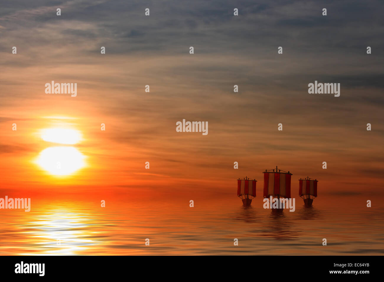 Sunset over the sea with Viking ships - Stock Image