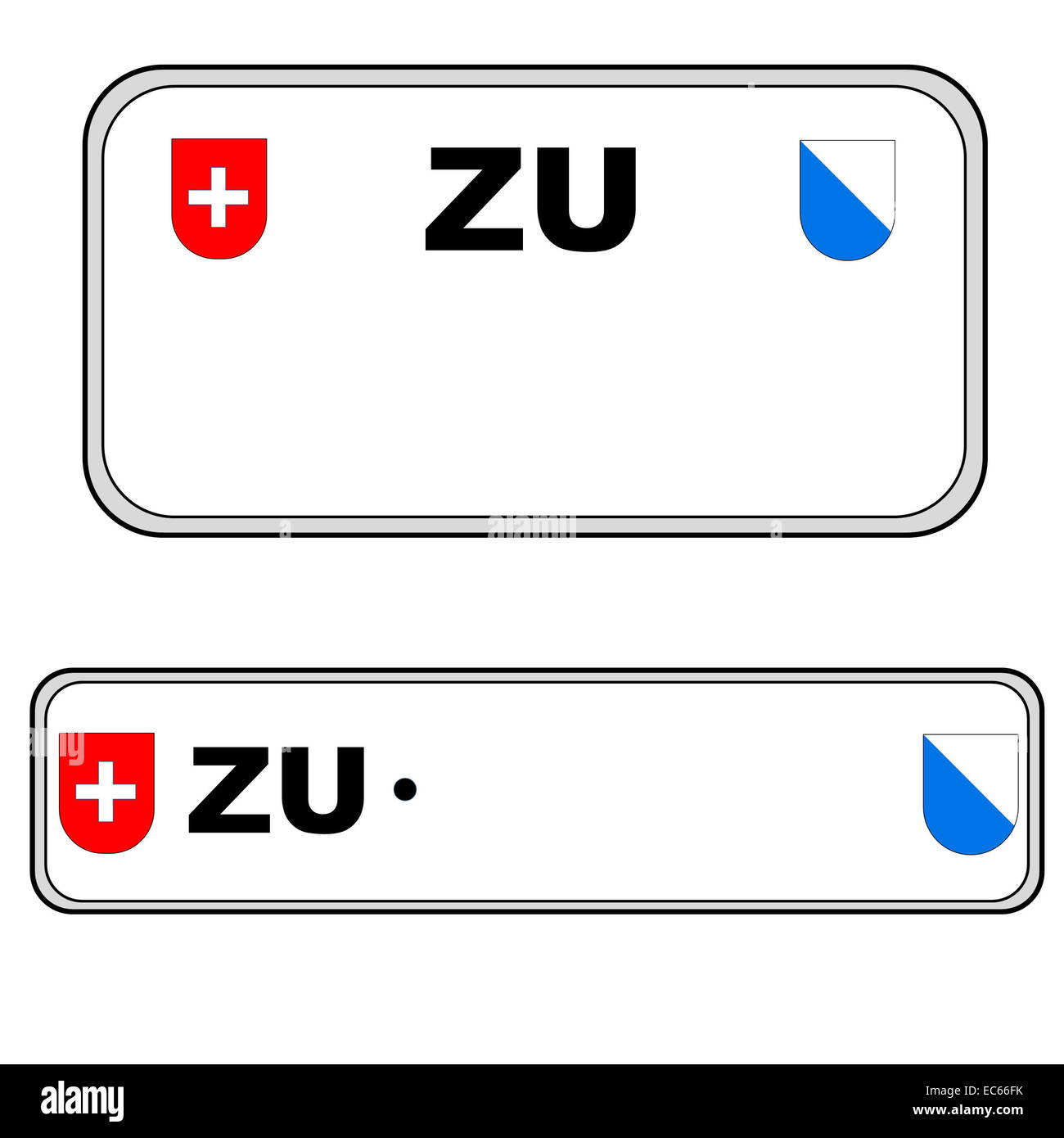 Zurich front and back plate numbers, Switzerland, in white background - Stock Image