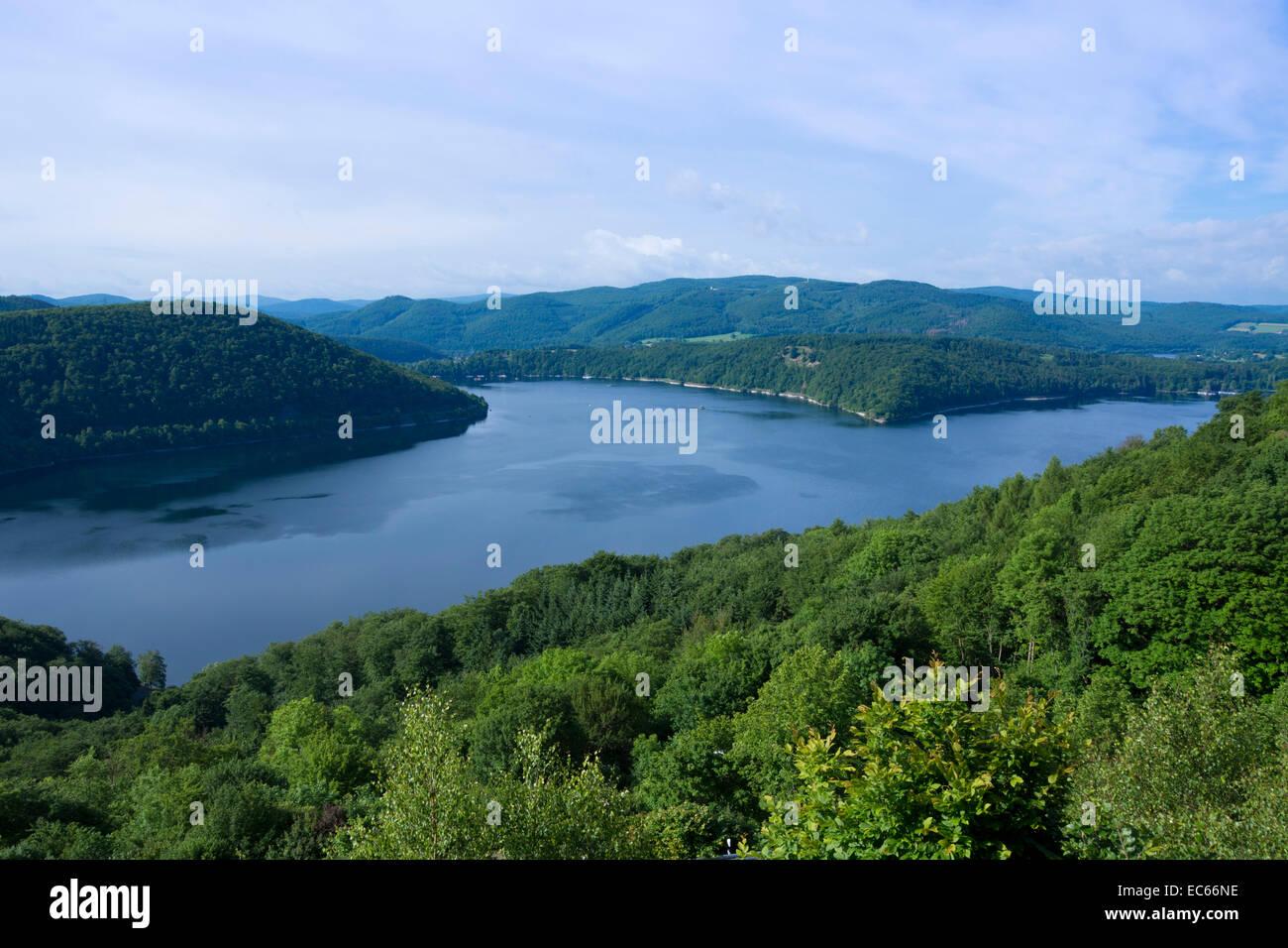 Edeersee lake, dam, Northern Hesse, Germany, Europe Stock Photo