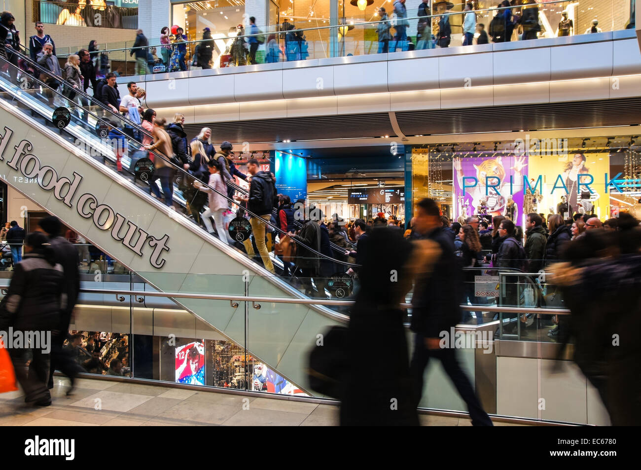 Shoppers at Westfield Stratford City shopping center, London England United Kingdom UK Stock Photo