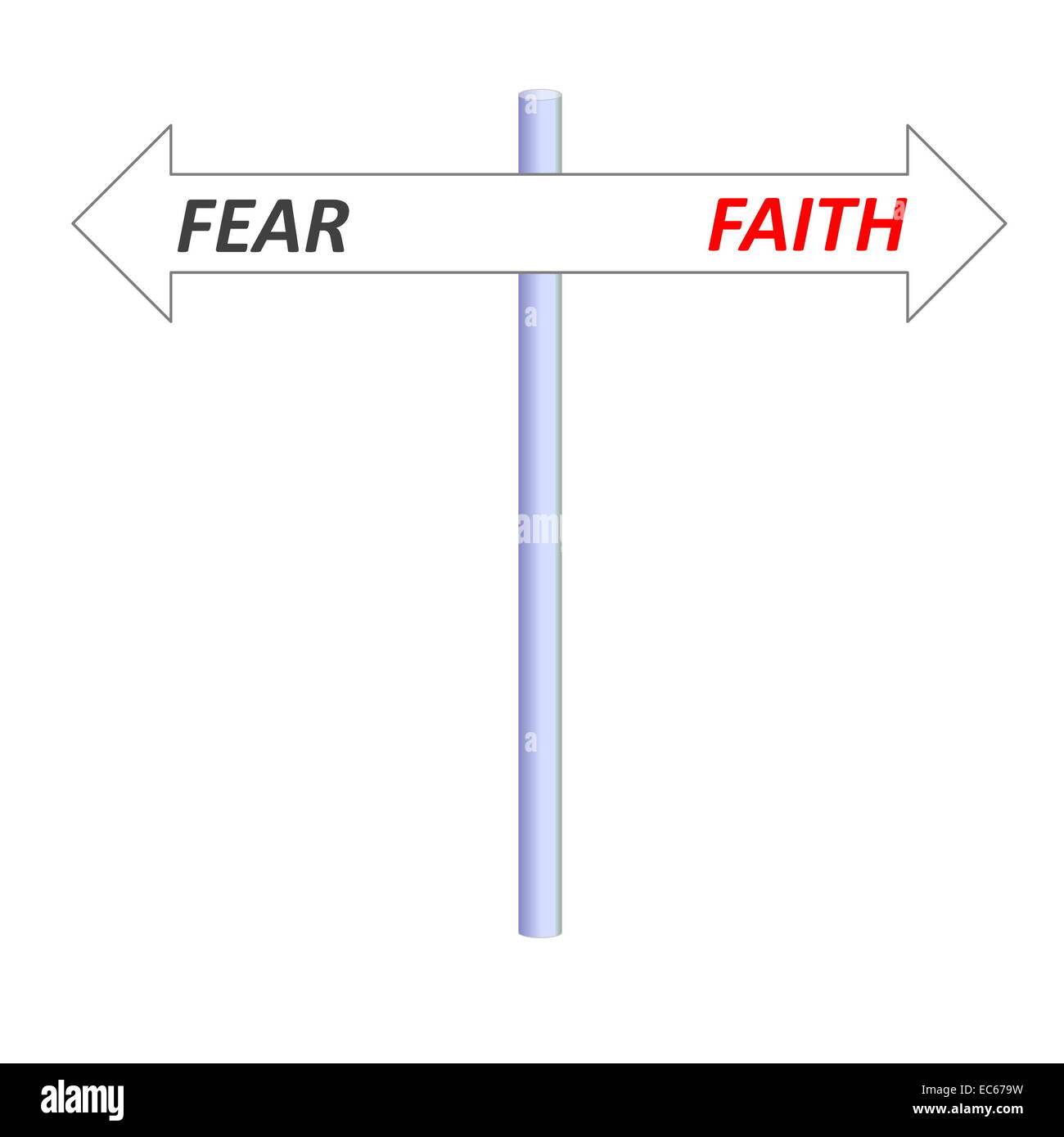 Two opposite arrows leading to faith or fear on a post in white background Stock Photo