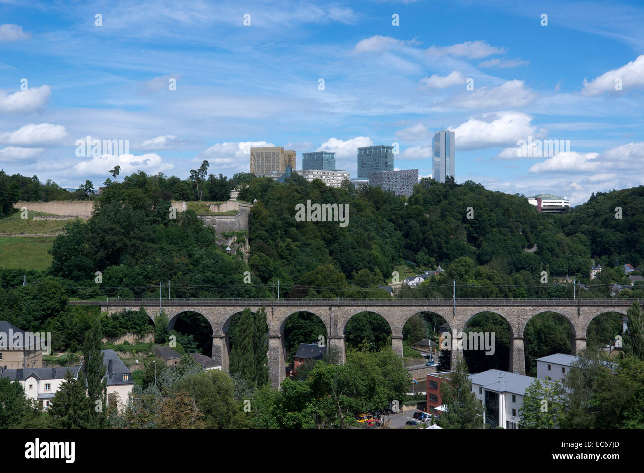 View of the Clausen Viaduct, in the background the Kirchberg District, Luxembourg City, Luxembourg, Europe - Stock Image