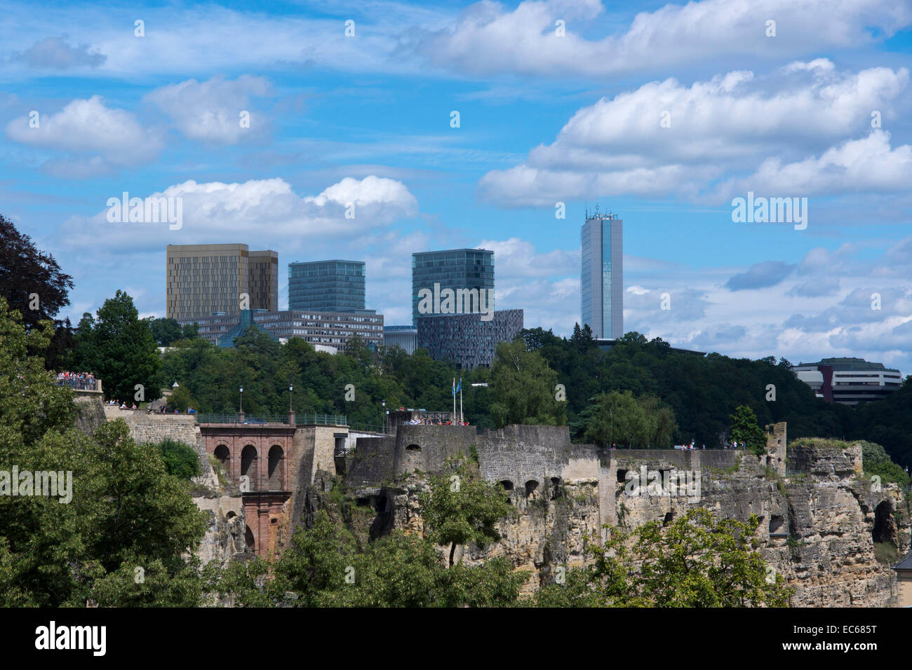 View of the Bock Casemates and the Kirchberg district, Luxembourg City, Luxembourg, Europe - Stock Image