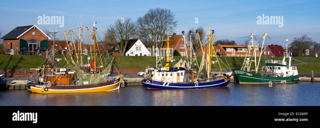 Shrimp cutters in the harbour, Greetsiel, commune Krummhoern, district Aurich, East Frisia, Lower Saxony, Germany, - Stock Image