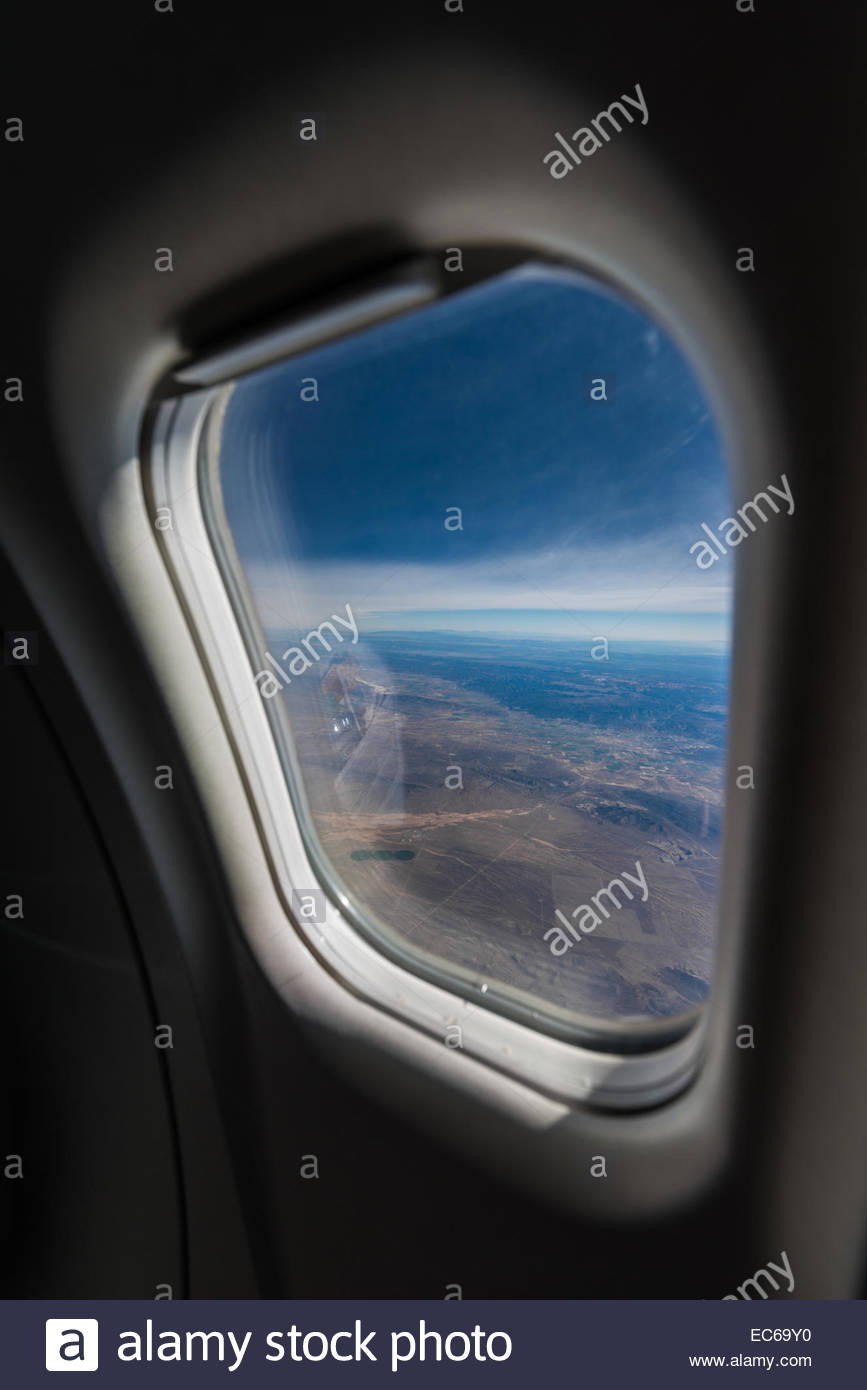 View of landscape from airplane window - Utah - Stock Image