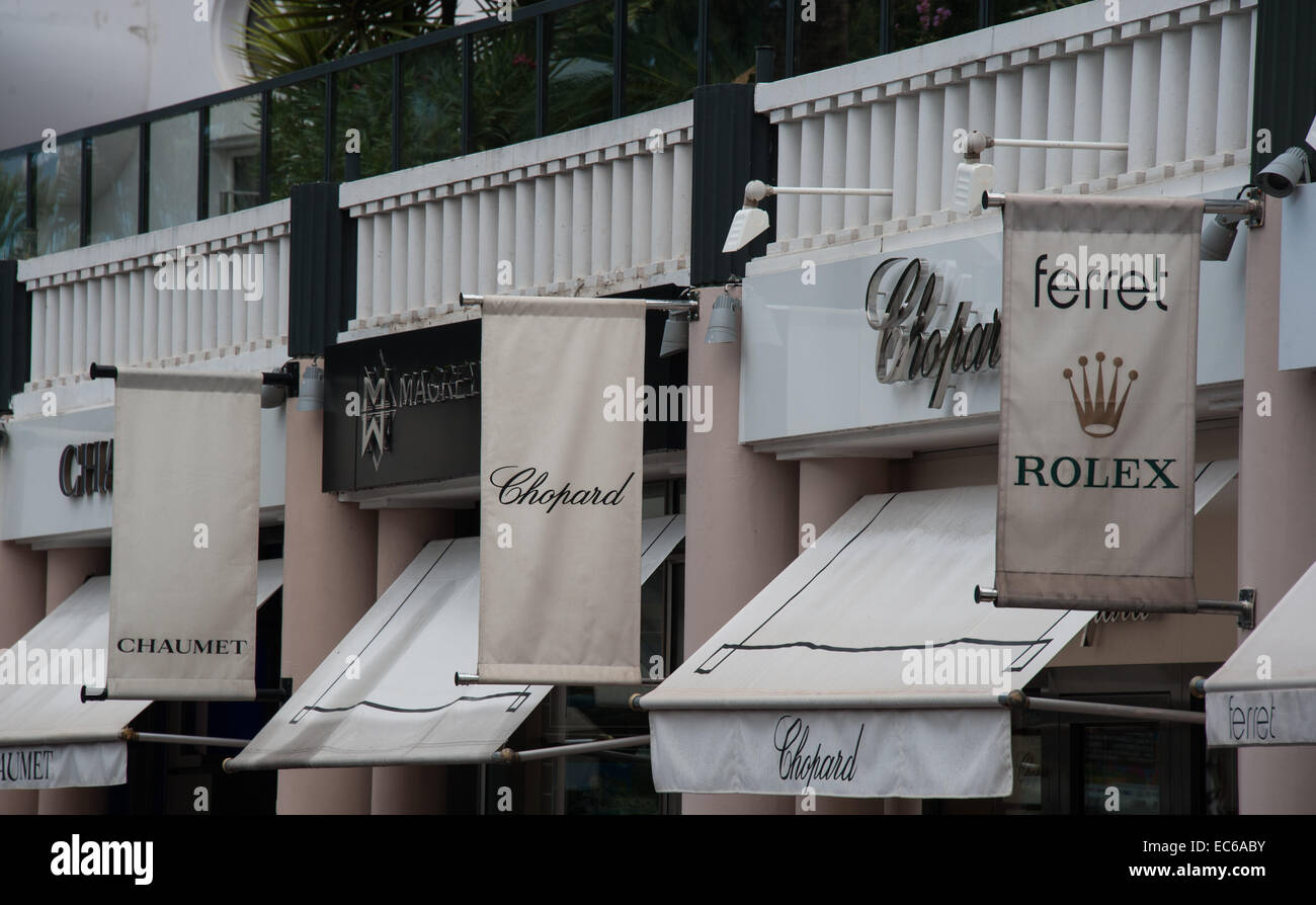 Designer boutiques in Cannes, France, Riviera - Stock Image