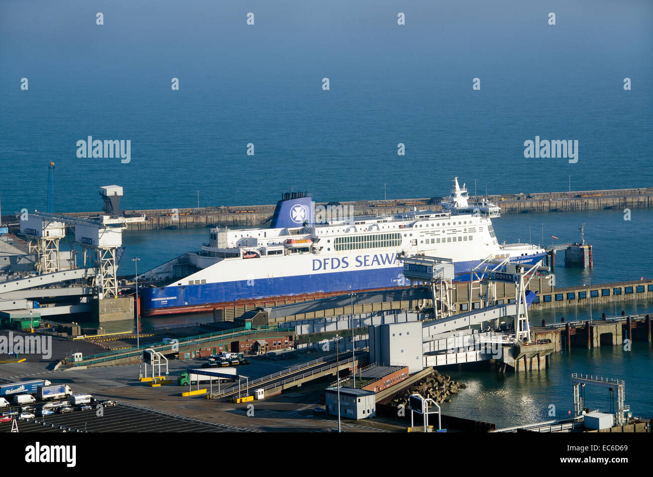 DFDS Ferry, Dunquerque Seaways docked at number 3 berth at Dower Eastern Docks.  Dover is the busiest ferry port - Stock Image