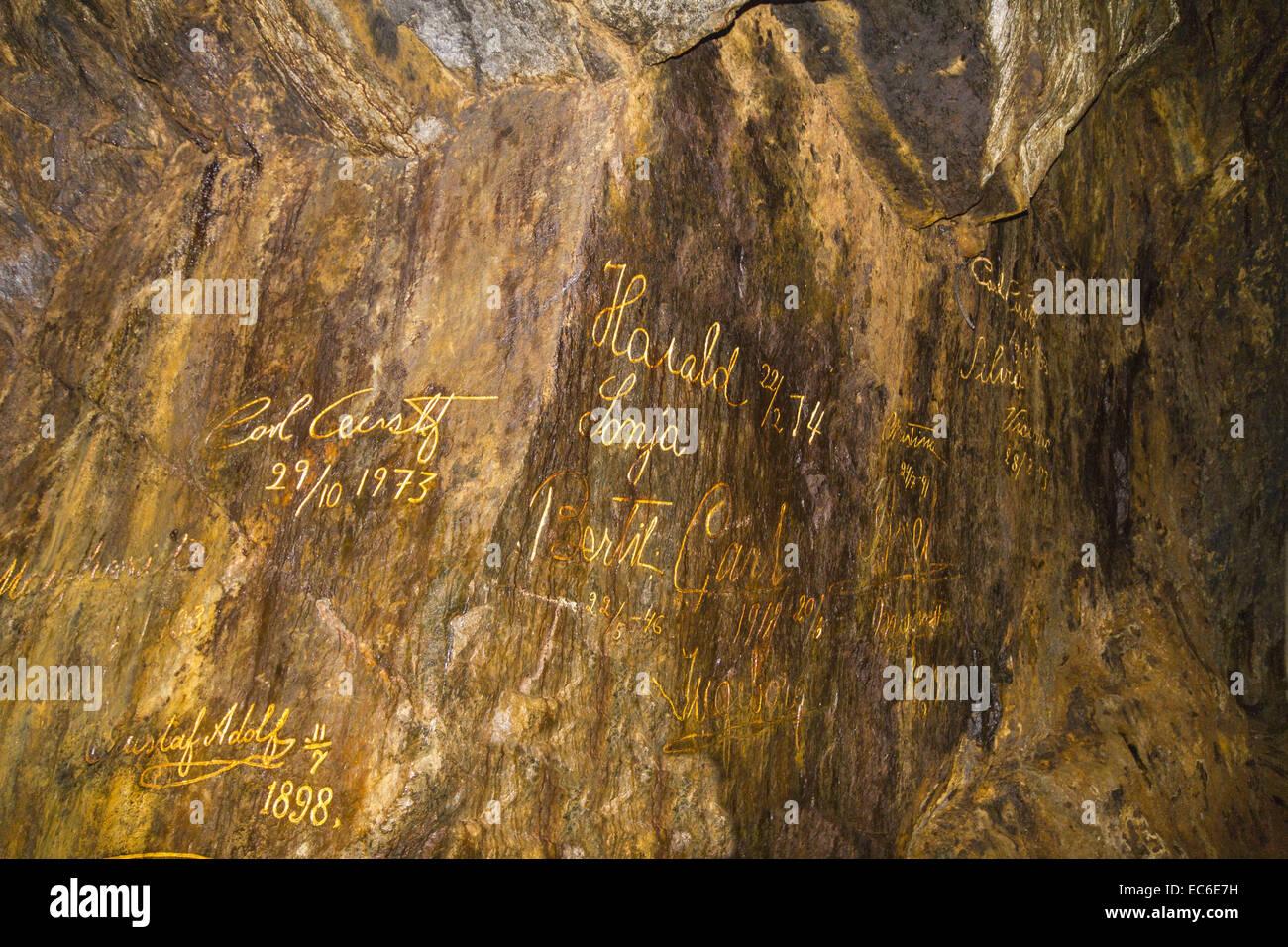 Signatures aristocratic visitors in the historic copper mine of Falun - Stock Image