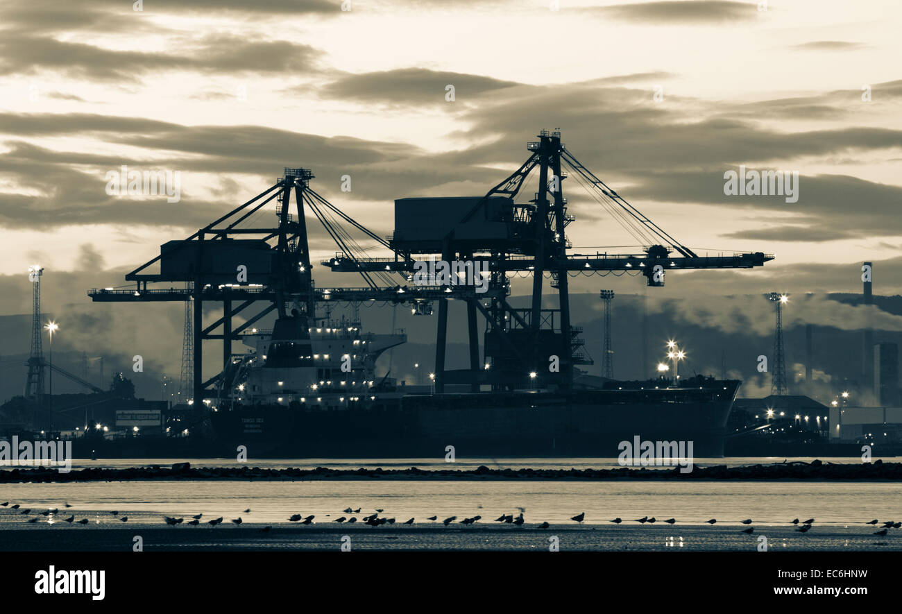 Ship unloading coal at Redcar Wharf near Redcar Steelworks, north east England. UK Stock Photo
