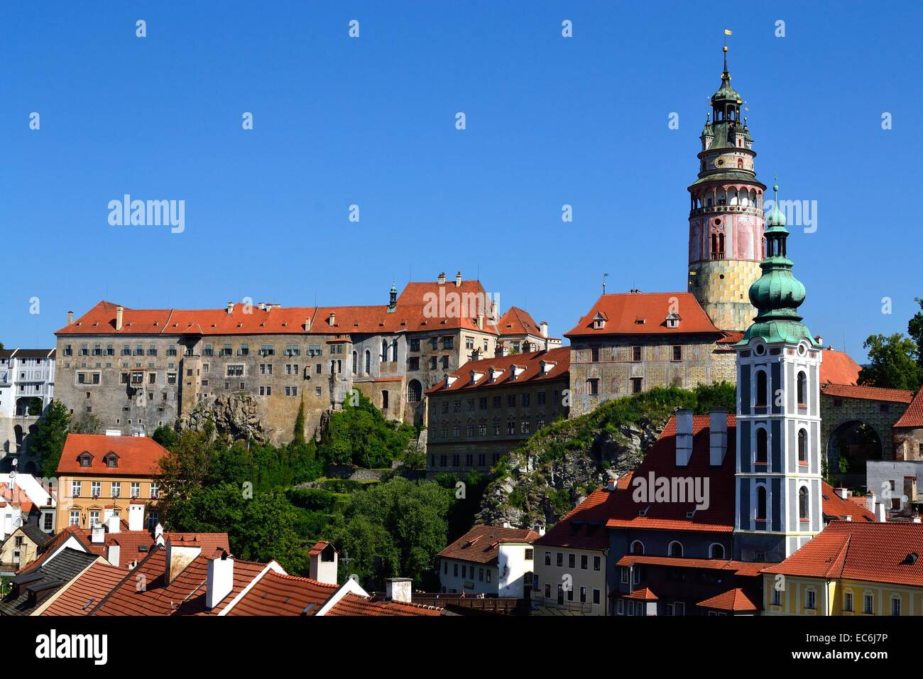 imposing castle in Cesky Krumlov - Stock Image