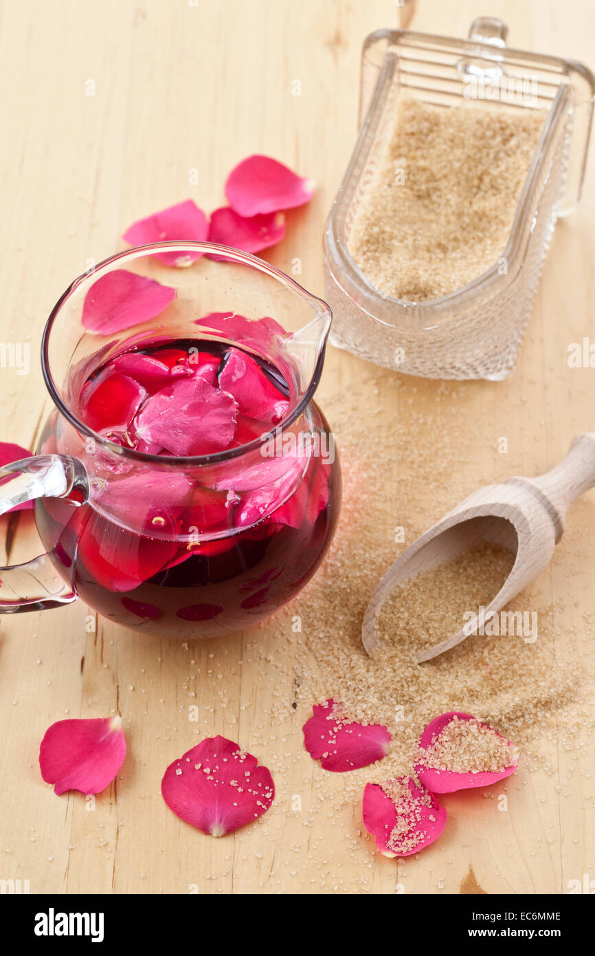 Homemade rose sirup - Stock Image