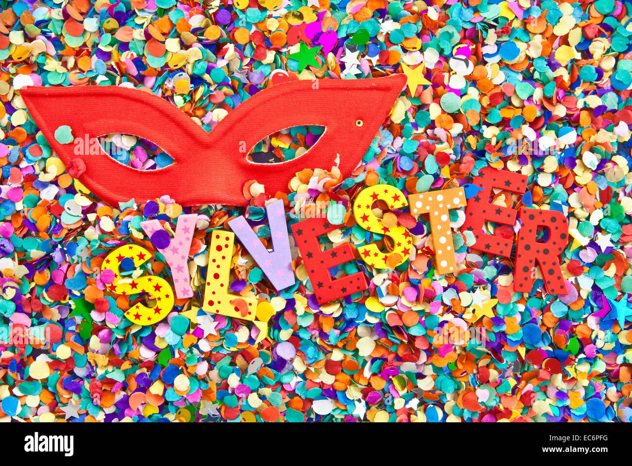 Sylvester on confetti - Stock Image