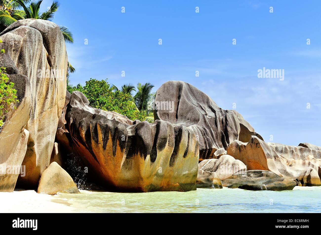 famous rocks on Source d Argent on La Digue, Seychelles - Stock Image