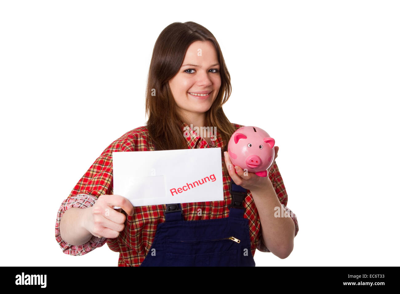 Young crafswoman presenting a billing - Stock Image