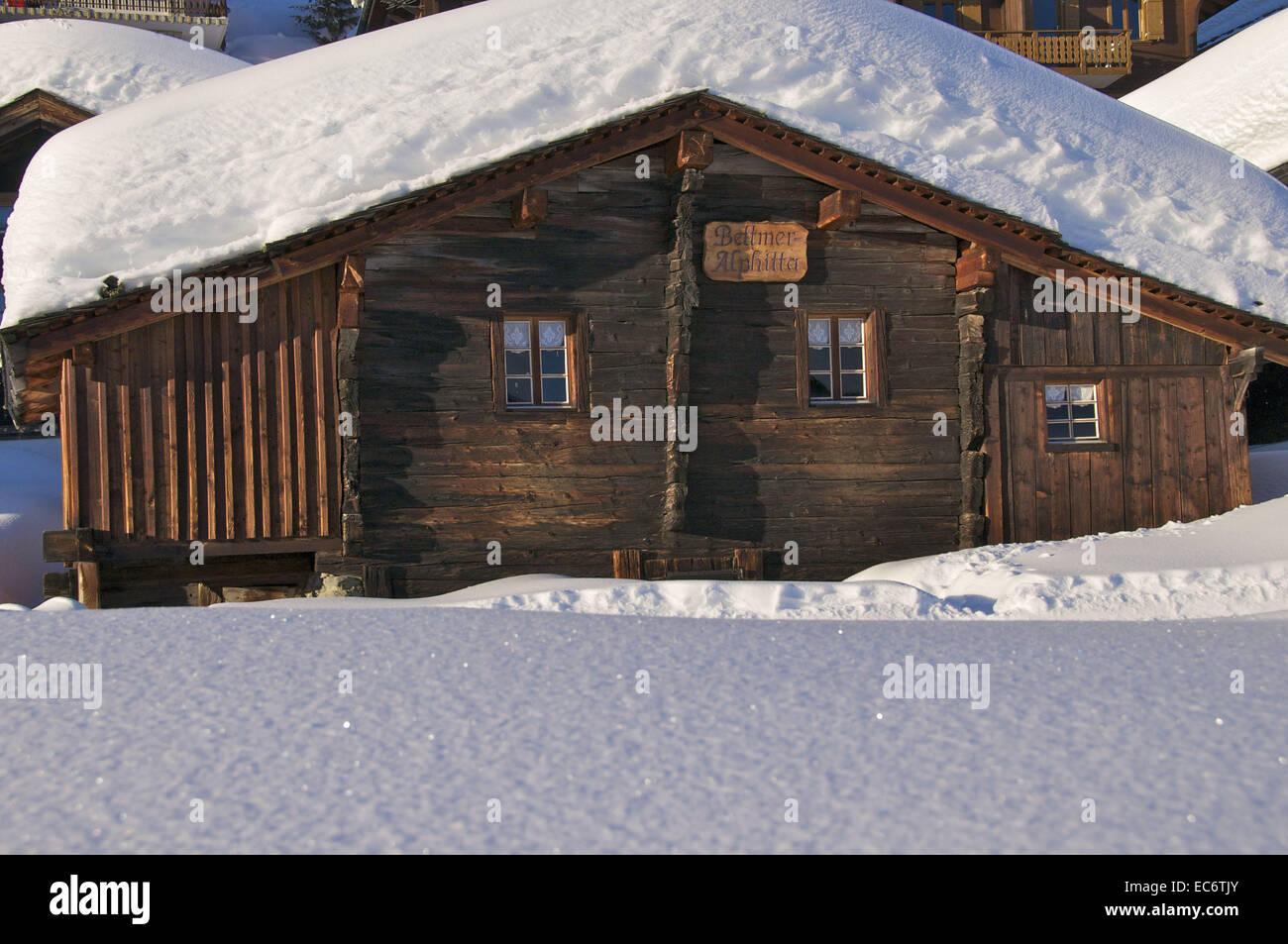 freshly snowed in chalet, Wallis - Stock Image