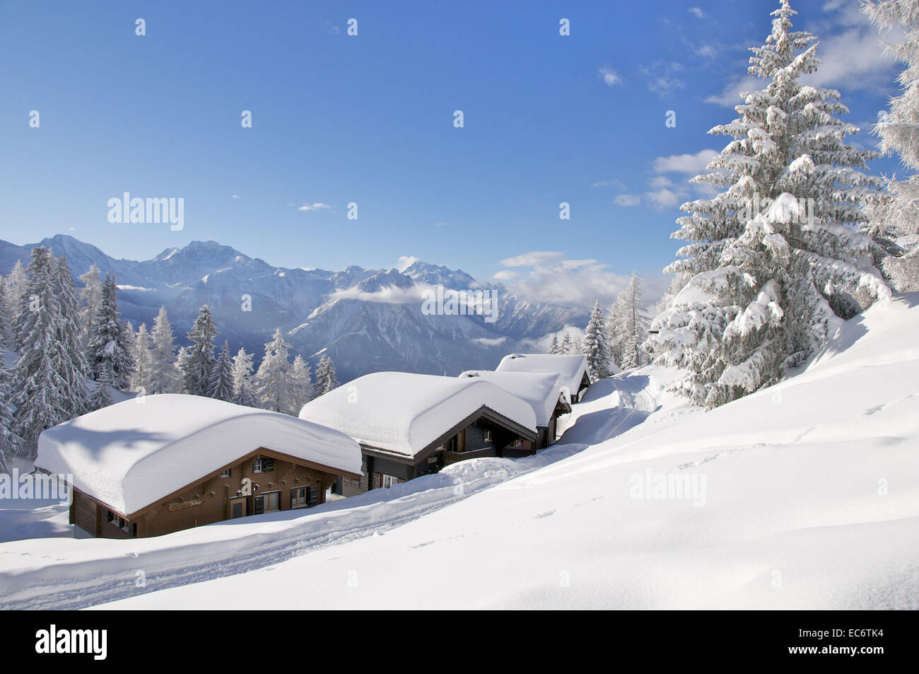 freshly snowed in chalets on Riederalp, white mountains and blue sky in the background - Stock Image
